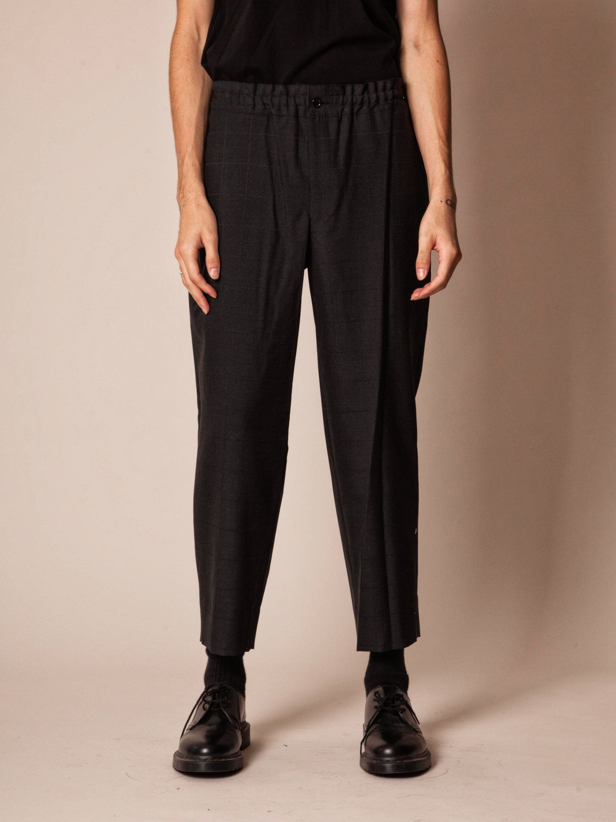 Charcoal Cropped Grid Trouser 3