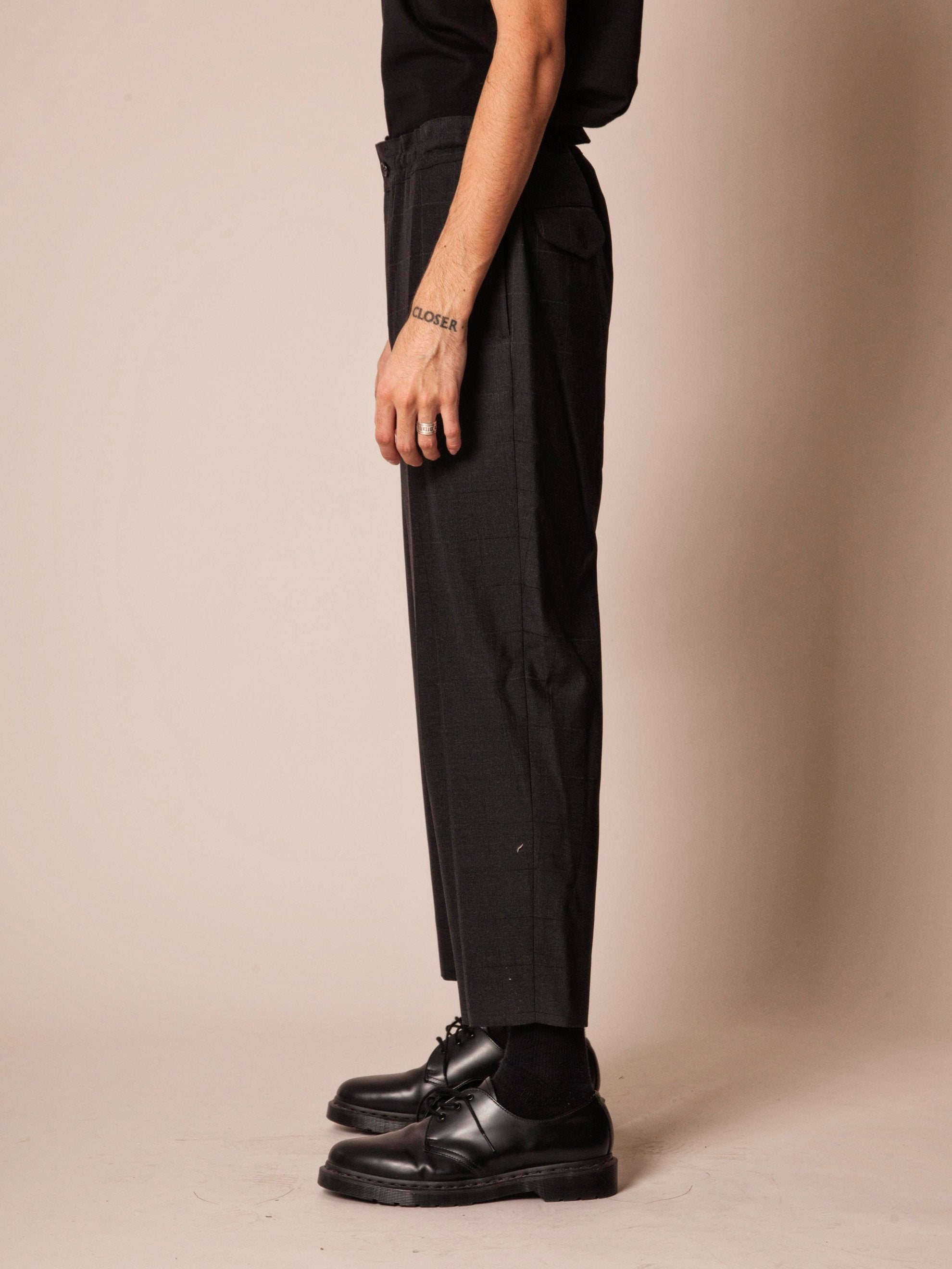 Charcoal Cropped Grid Trouser 4
