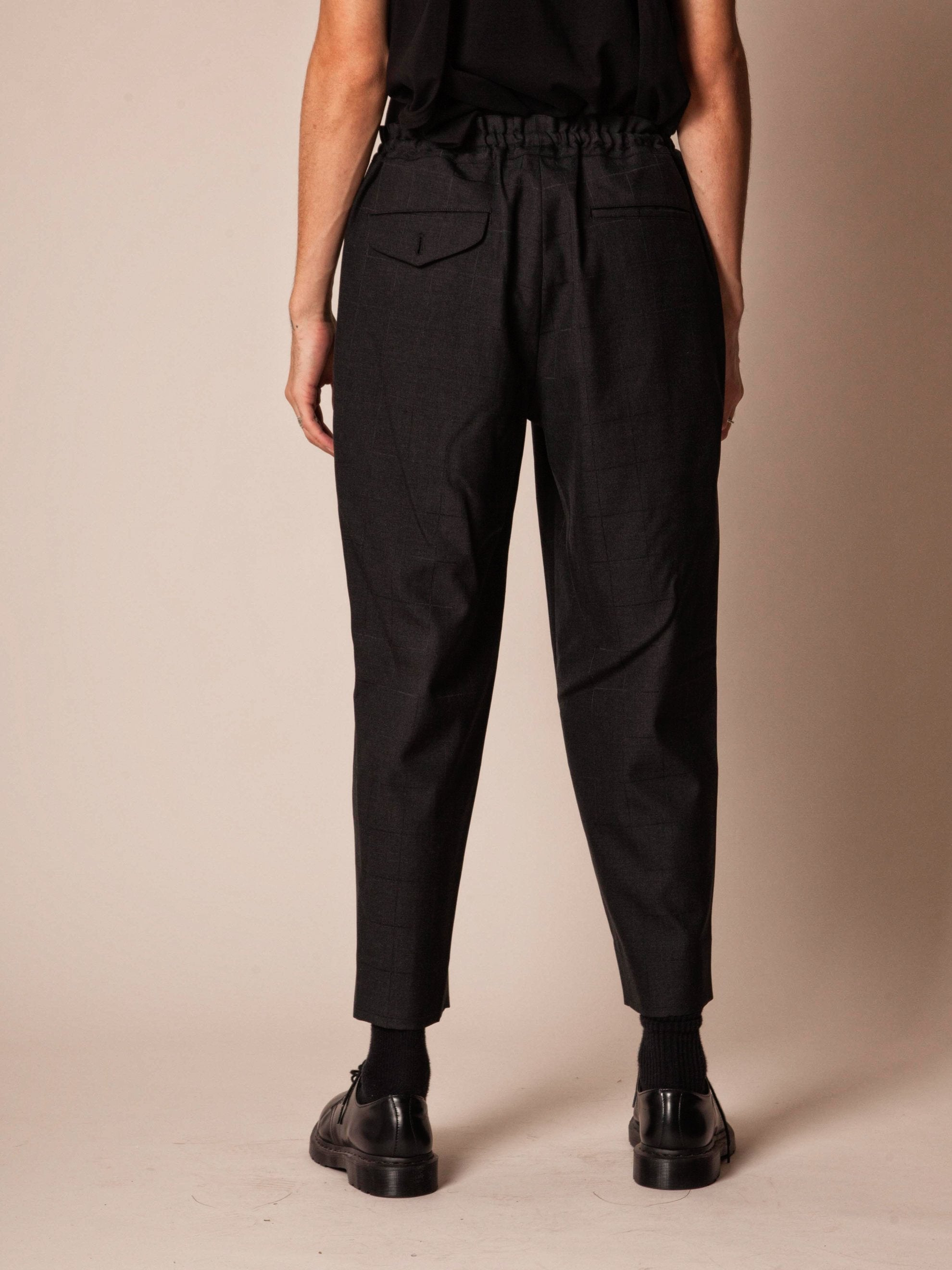 Navy Cropped Grid Trouser 5