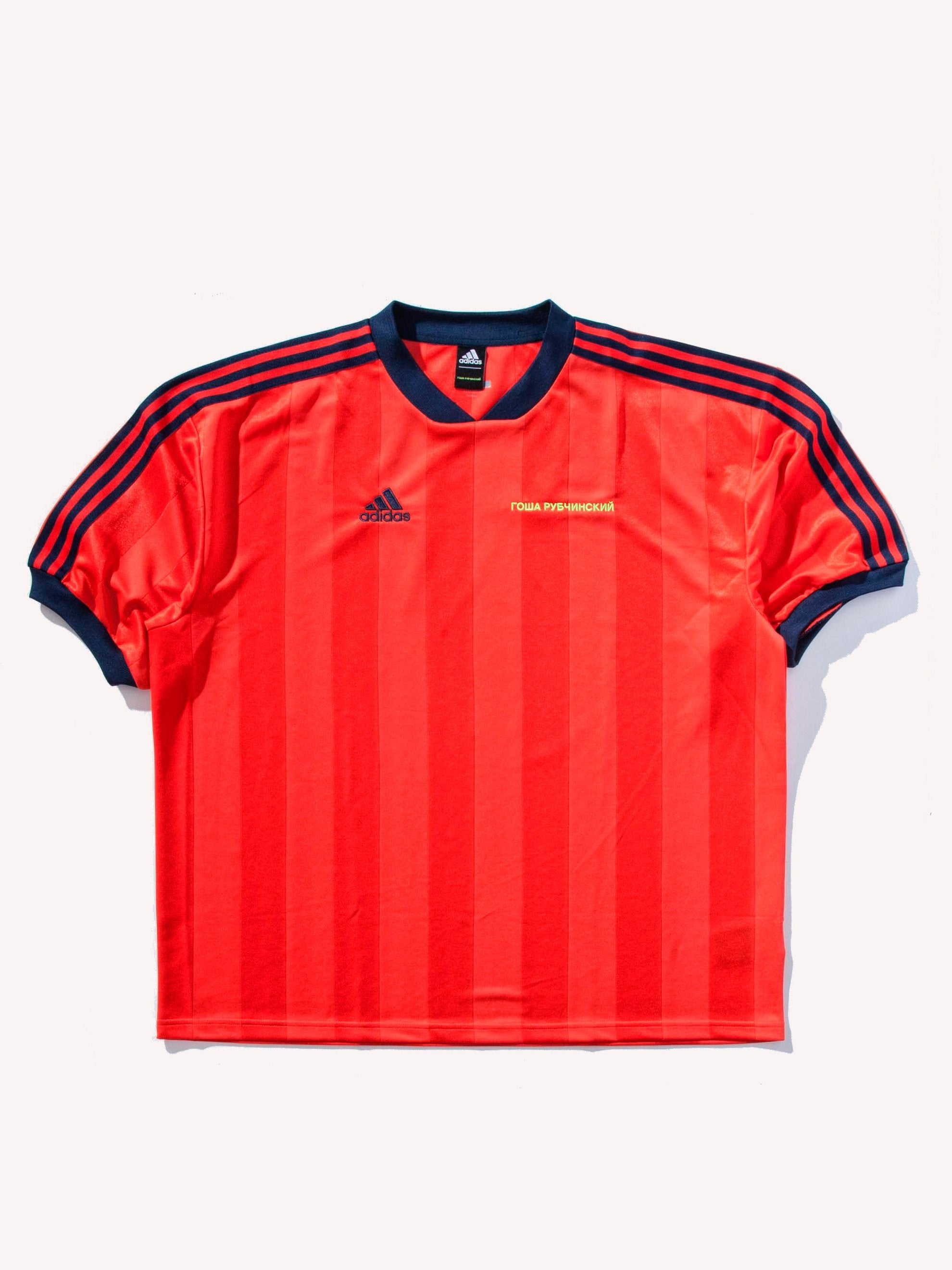 Red/Navy Stripes Adidas Soccer Jersey 1
