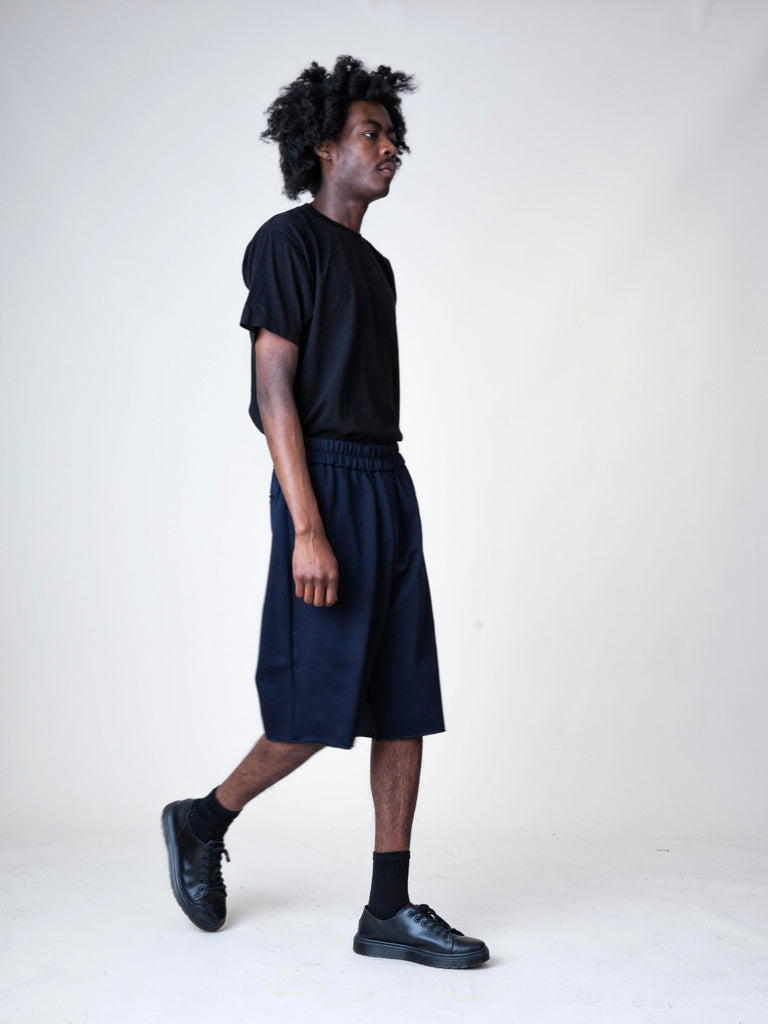 Black Jersey Knitted Short Pant 73596500238413