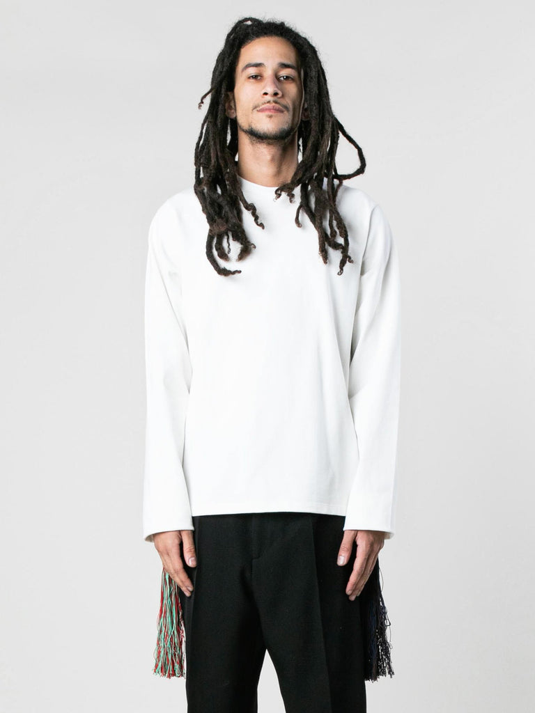 White U-Knitted Long Sleeve T-Shirt 213933583433805