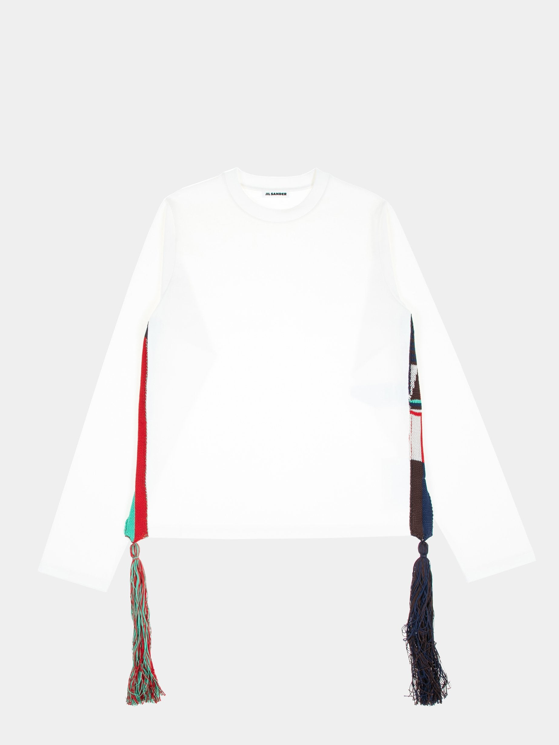 White U-Knitted Long Sleeve T-Shirt 1