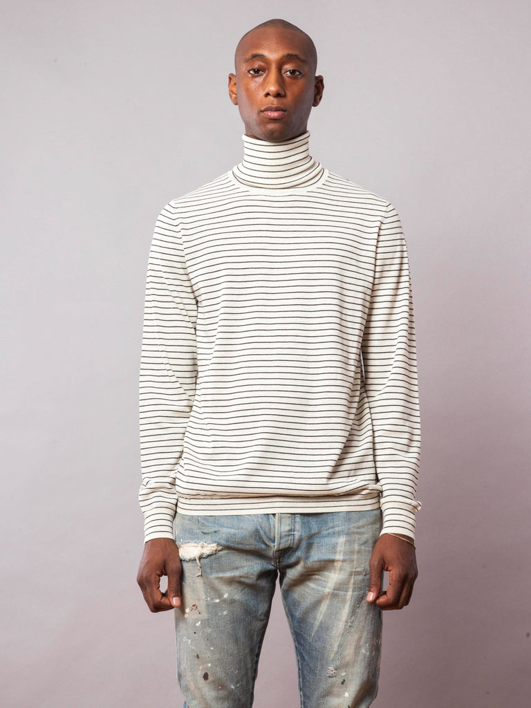Bone Striped Turtleneck 241796173833