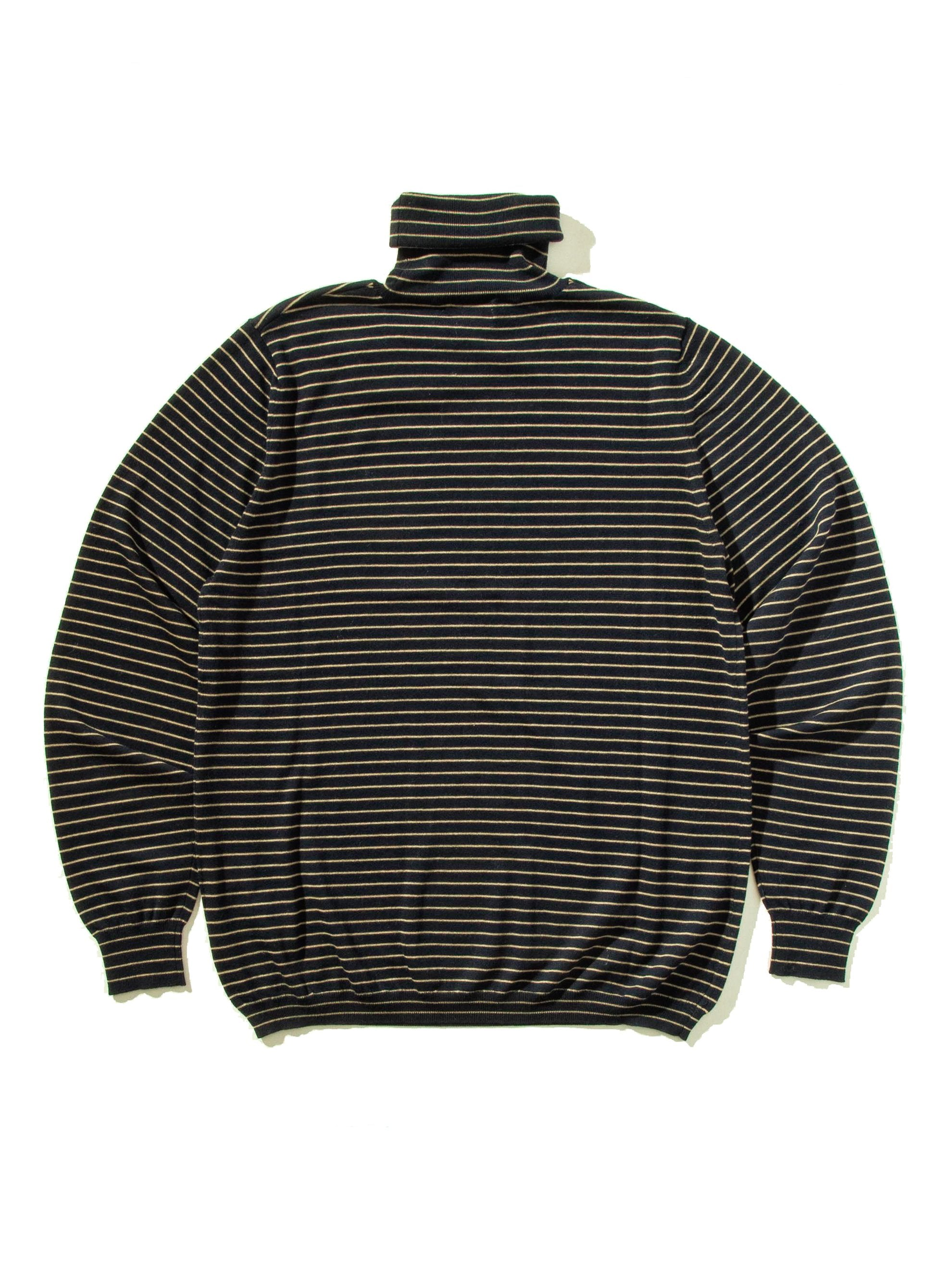 Dark Navy Striped Turtleneck 11