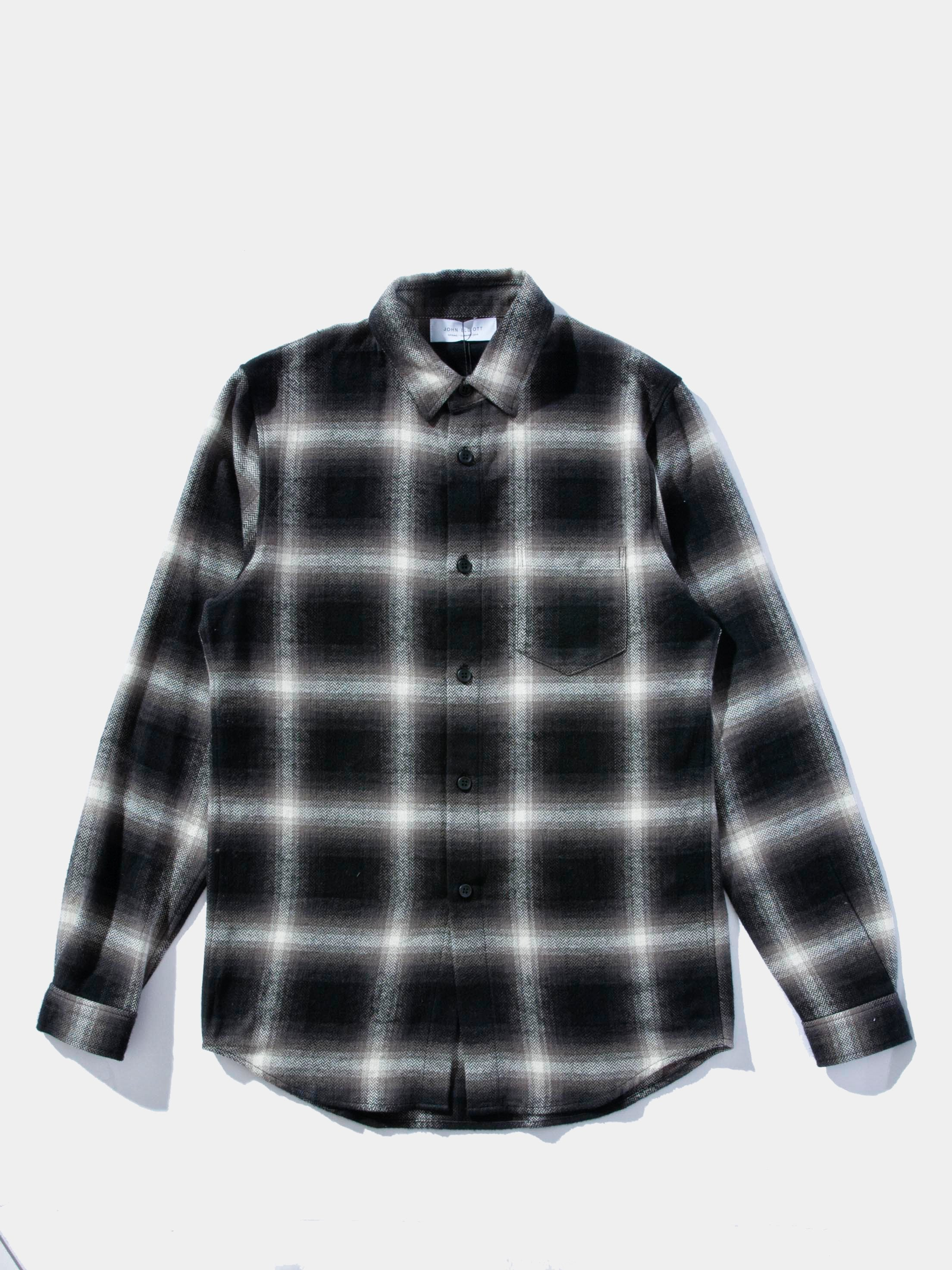 Black/Natural Plaid Brushed Flannel Button Up 1