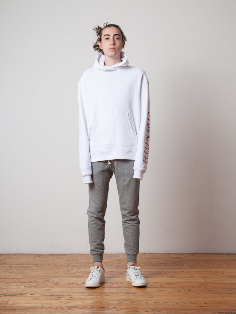White Oversized Cropped Hooded Sweatshirt (TOURNAMENT) 222705500169