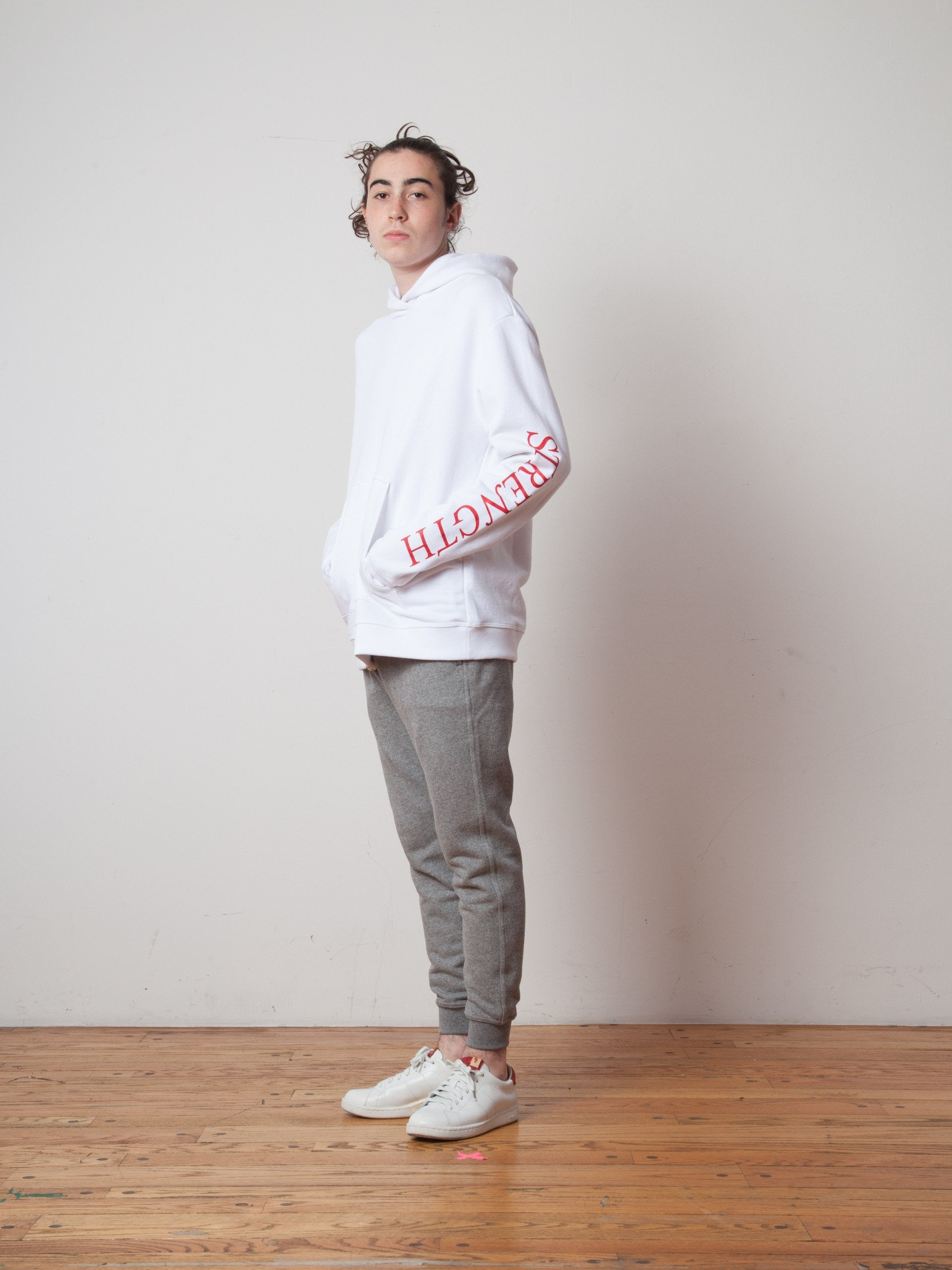 White Oversized Cropped Hooded Sweatshirt (TOURNAMENT) 5