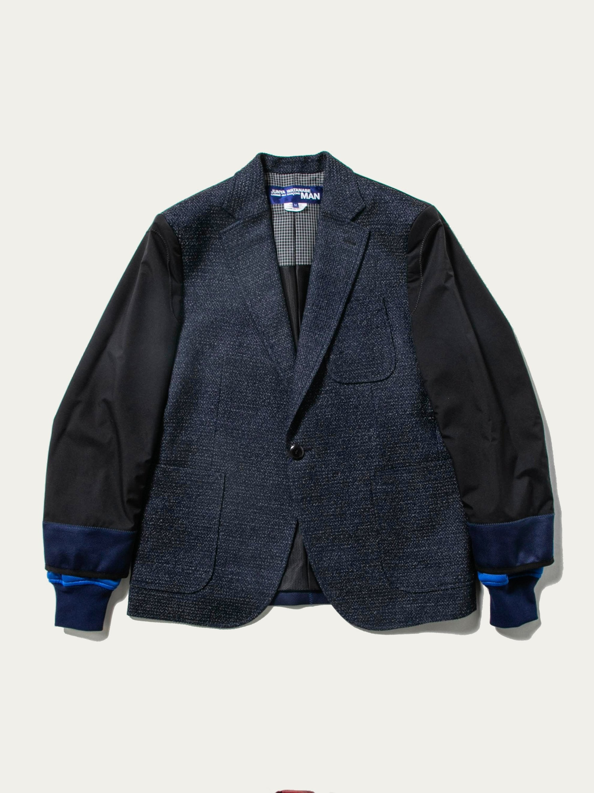 Navy Layered Sleeve Tweed Blazer 1