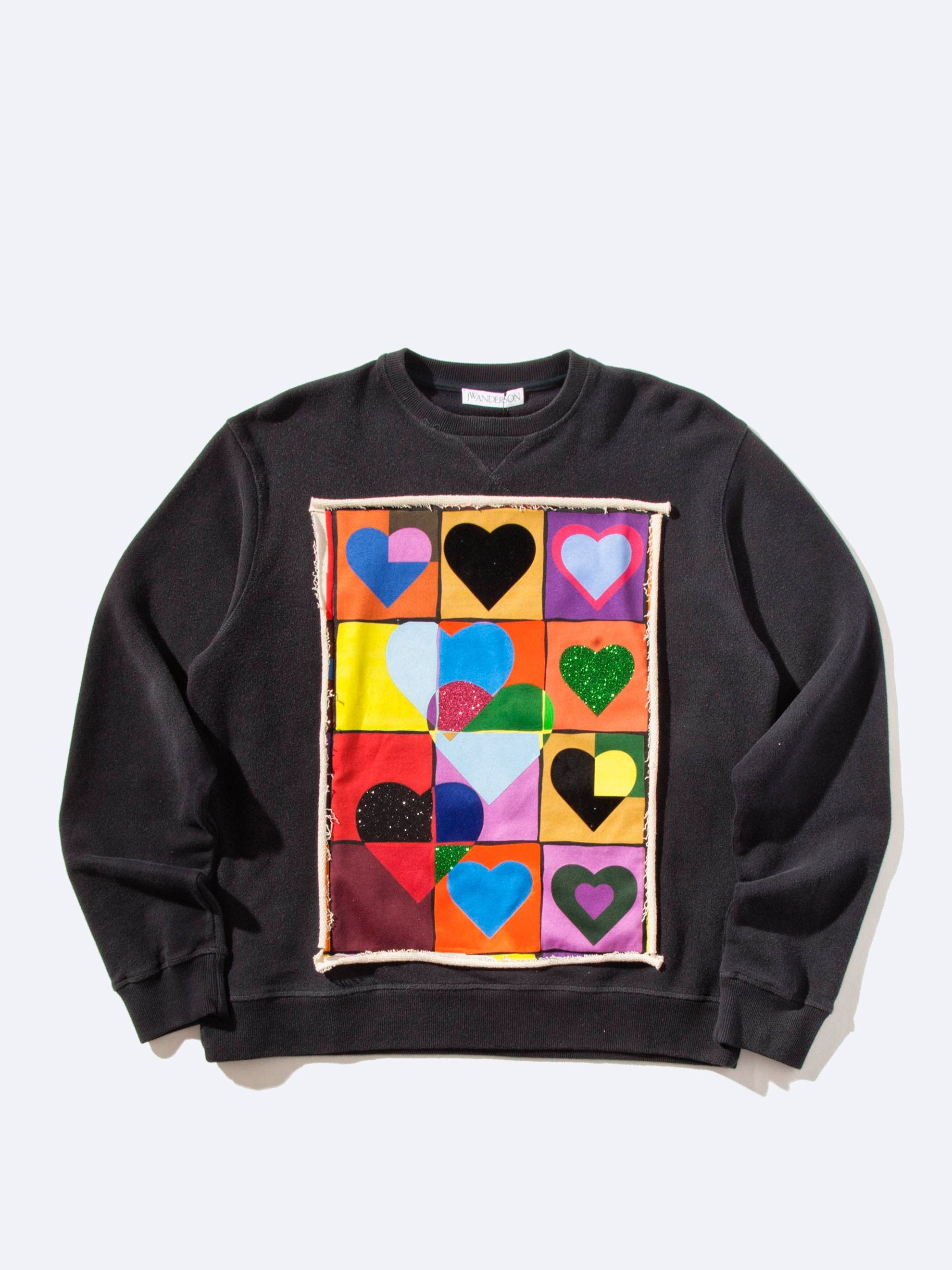 Navy Heart Grid Sweatshirt 1