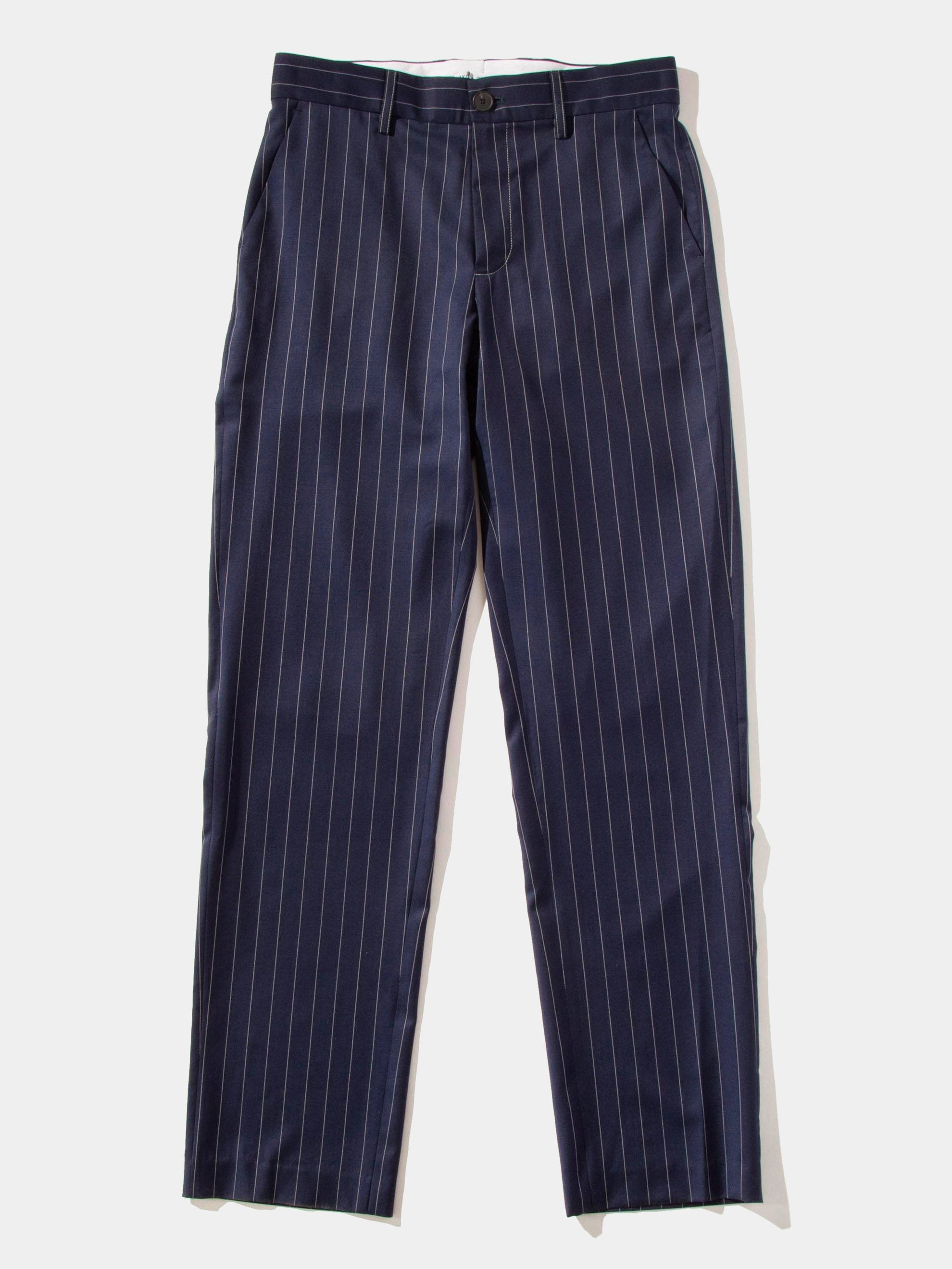 Navy Pinstripe Suiting Trousers 1