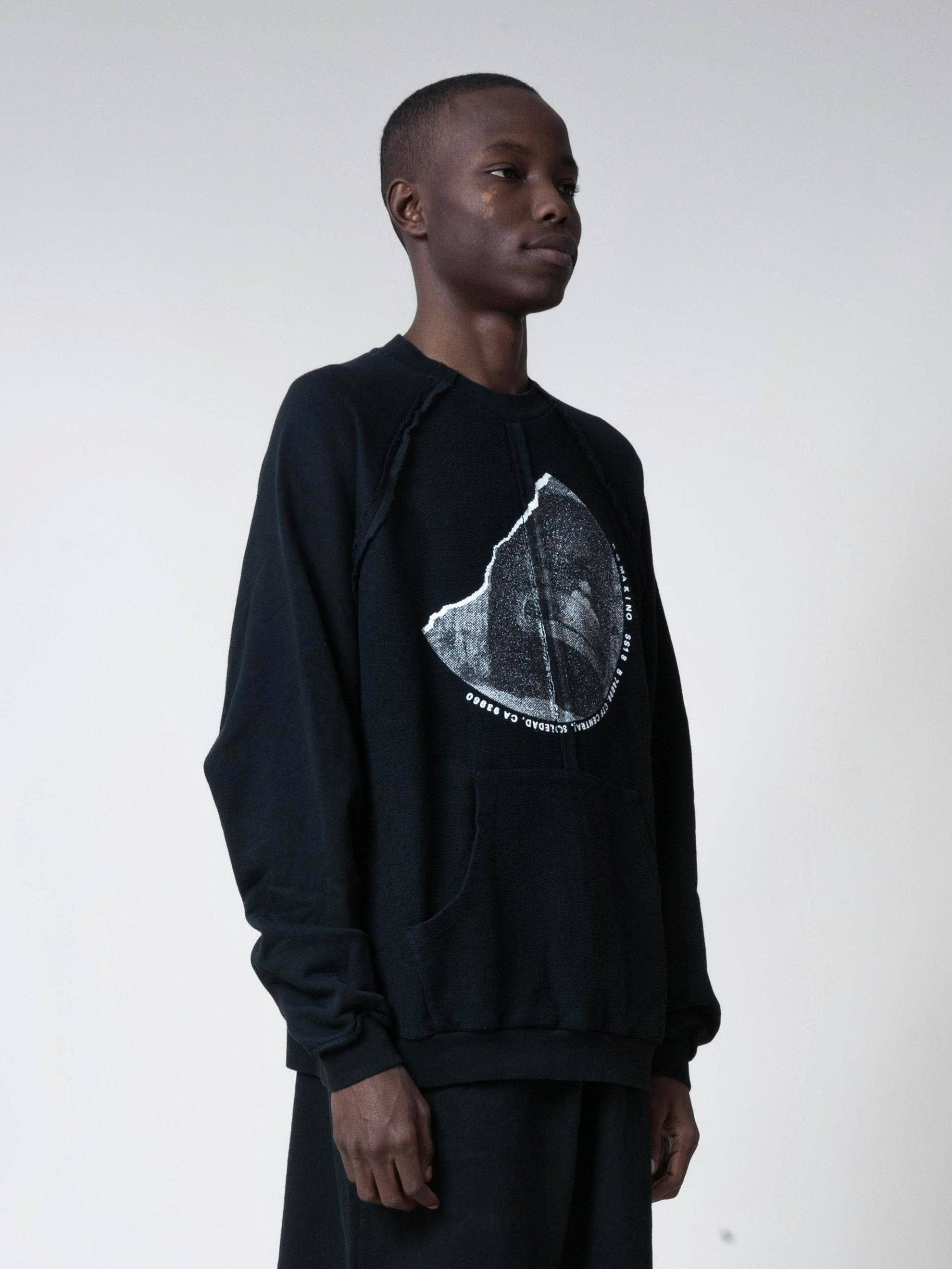 Black Inside-Out Raglan Crewneck 4