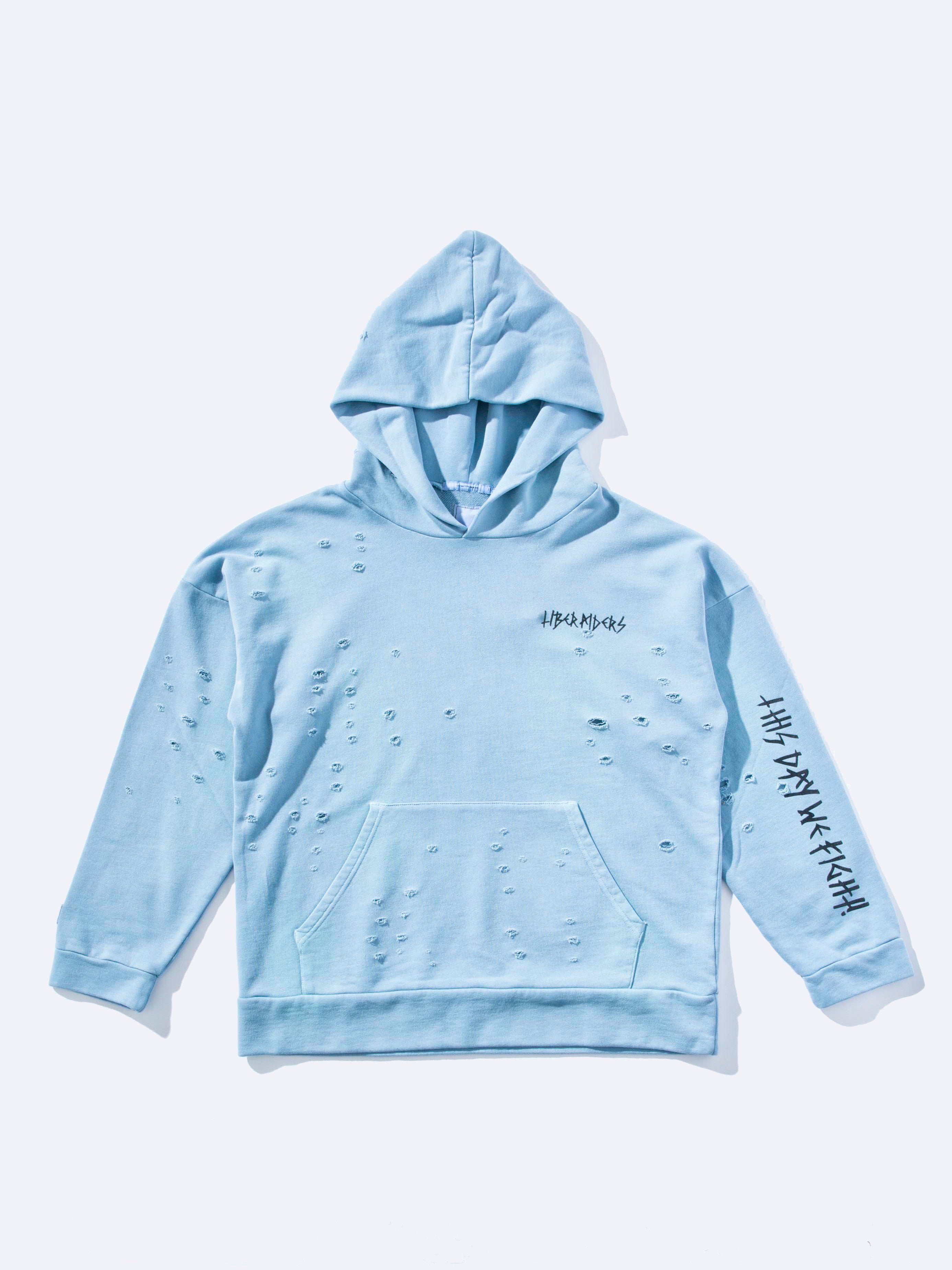 Blue Damaged Pullover Hoodie 1