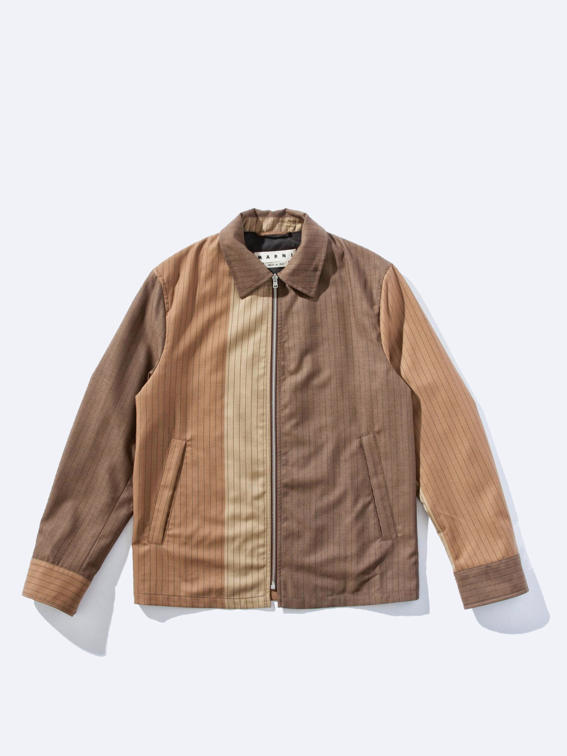 Camel/Brown Pin Stripe Zip Jacket 1