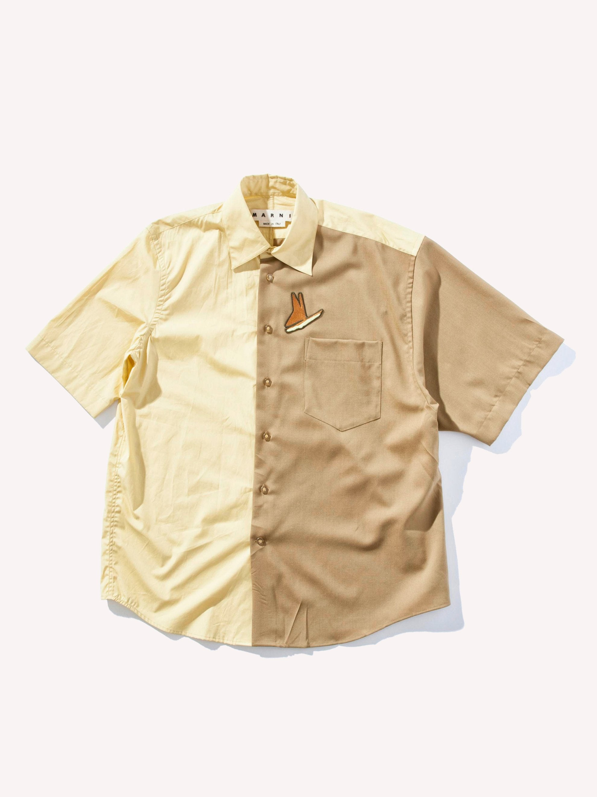 Yellow/Camel Two-Tone Sport Shirt 1