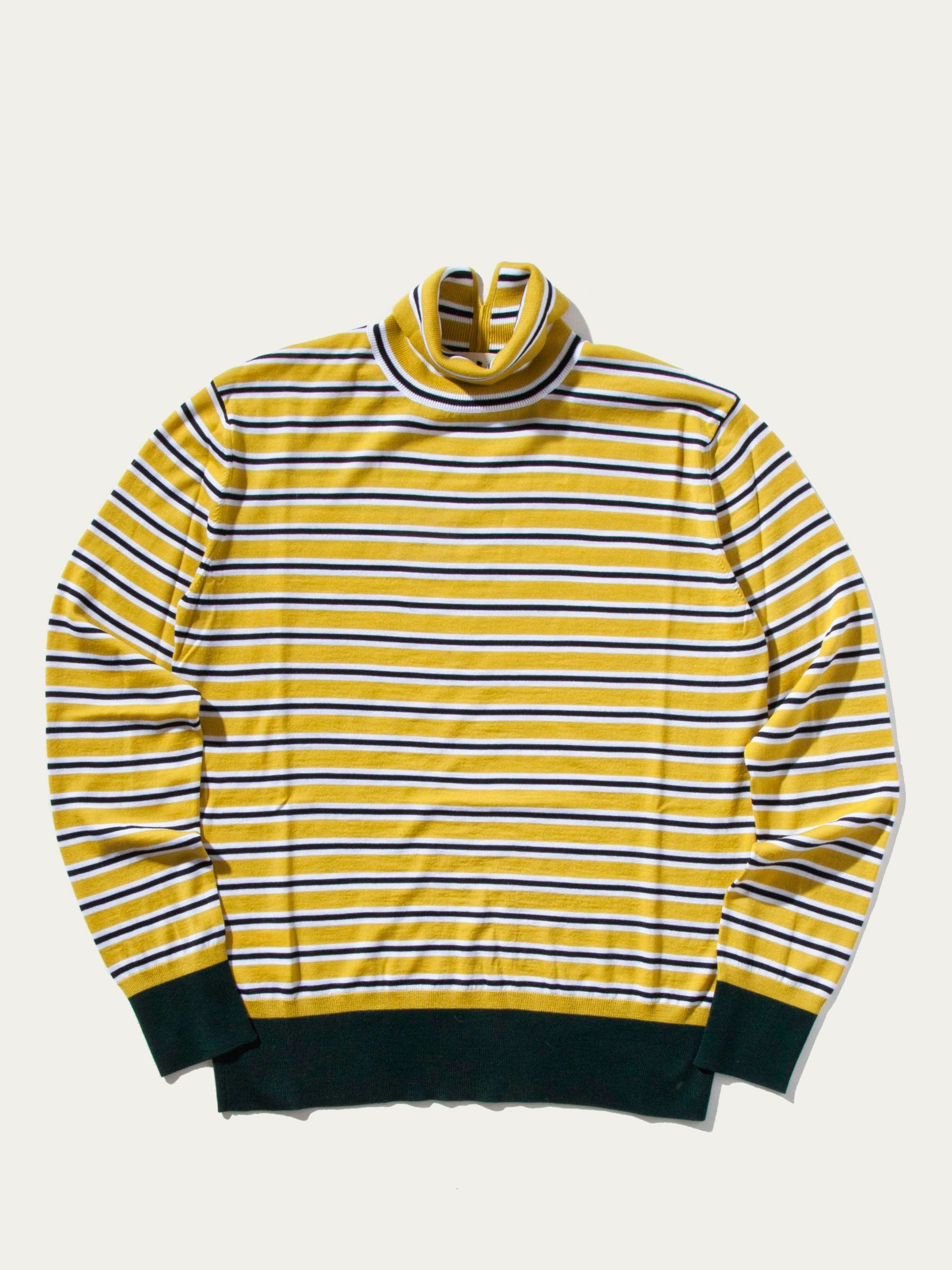 Yellow Striped Turtle Neck Sweater 1