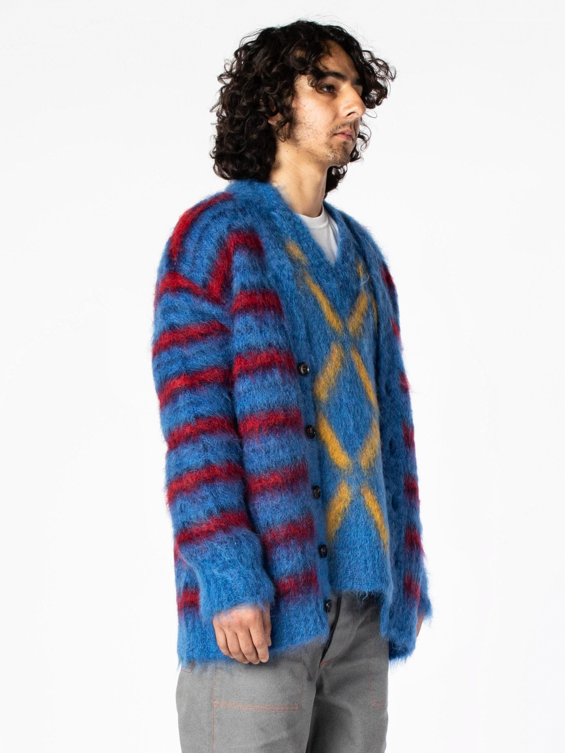 Blue / Red Cardigan In Striped Gauzed Mohair 5