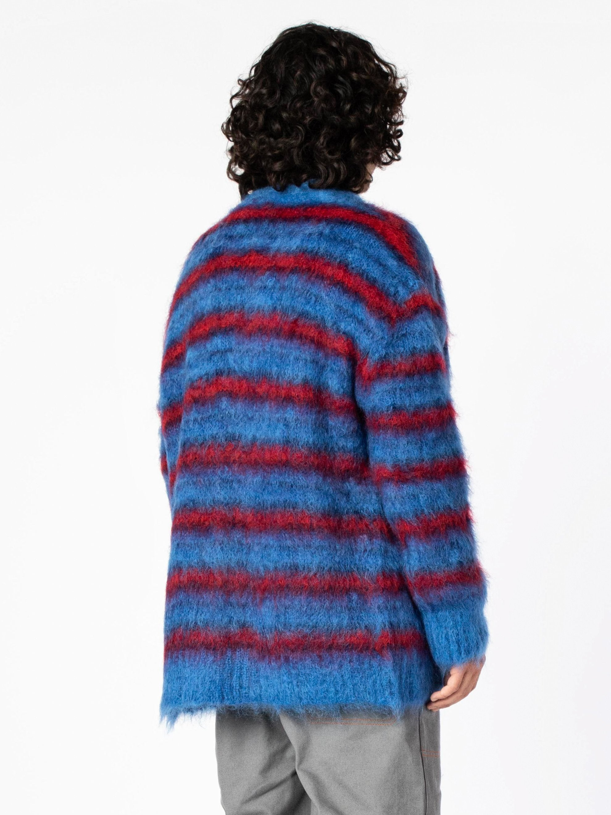 Blue / Red Cardigan In Striped Gauzed Mohair 7