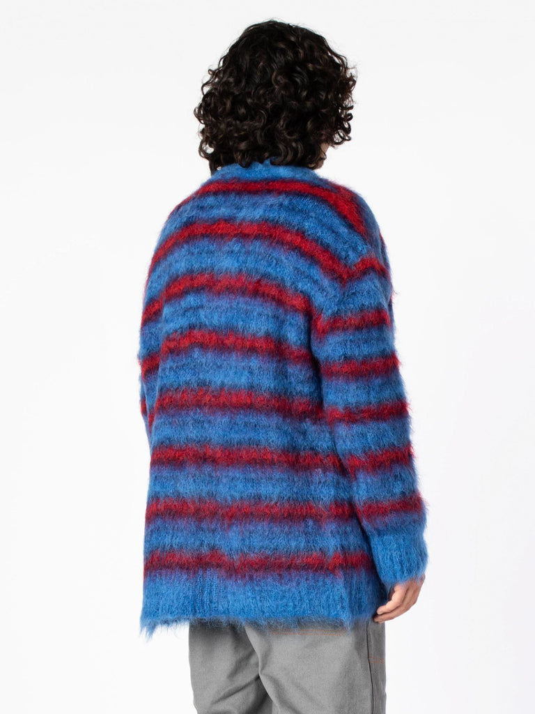 Blue / Red Cardigan In Striped Gauzed Mohair 713570595029069