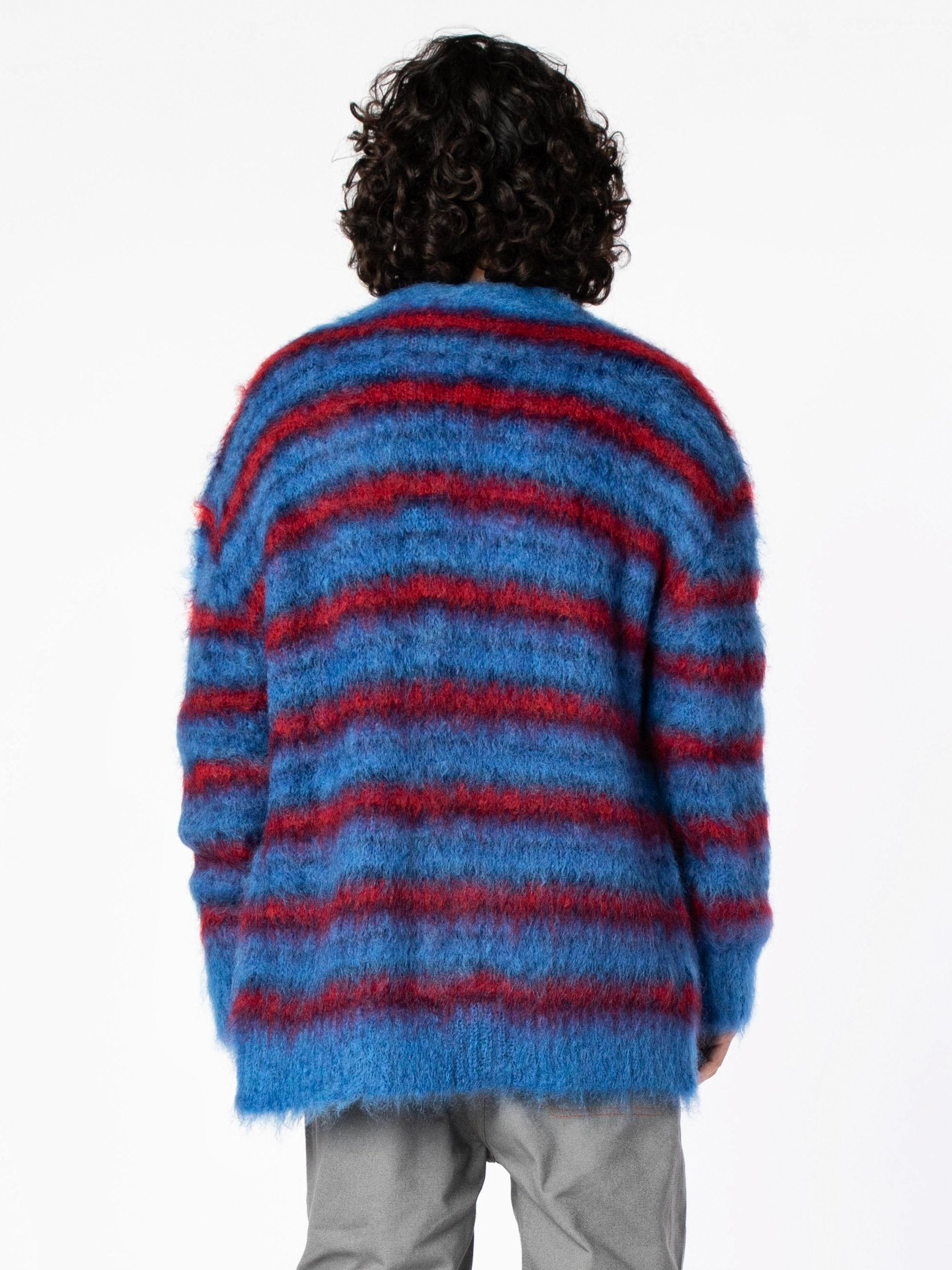 Blue / Red Cardigan In Striped Gauzed Mohair 4