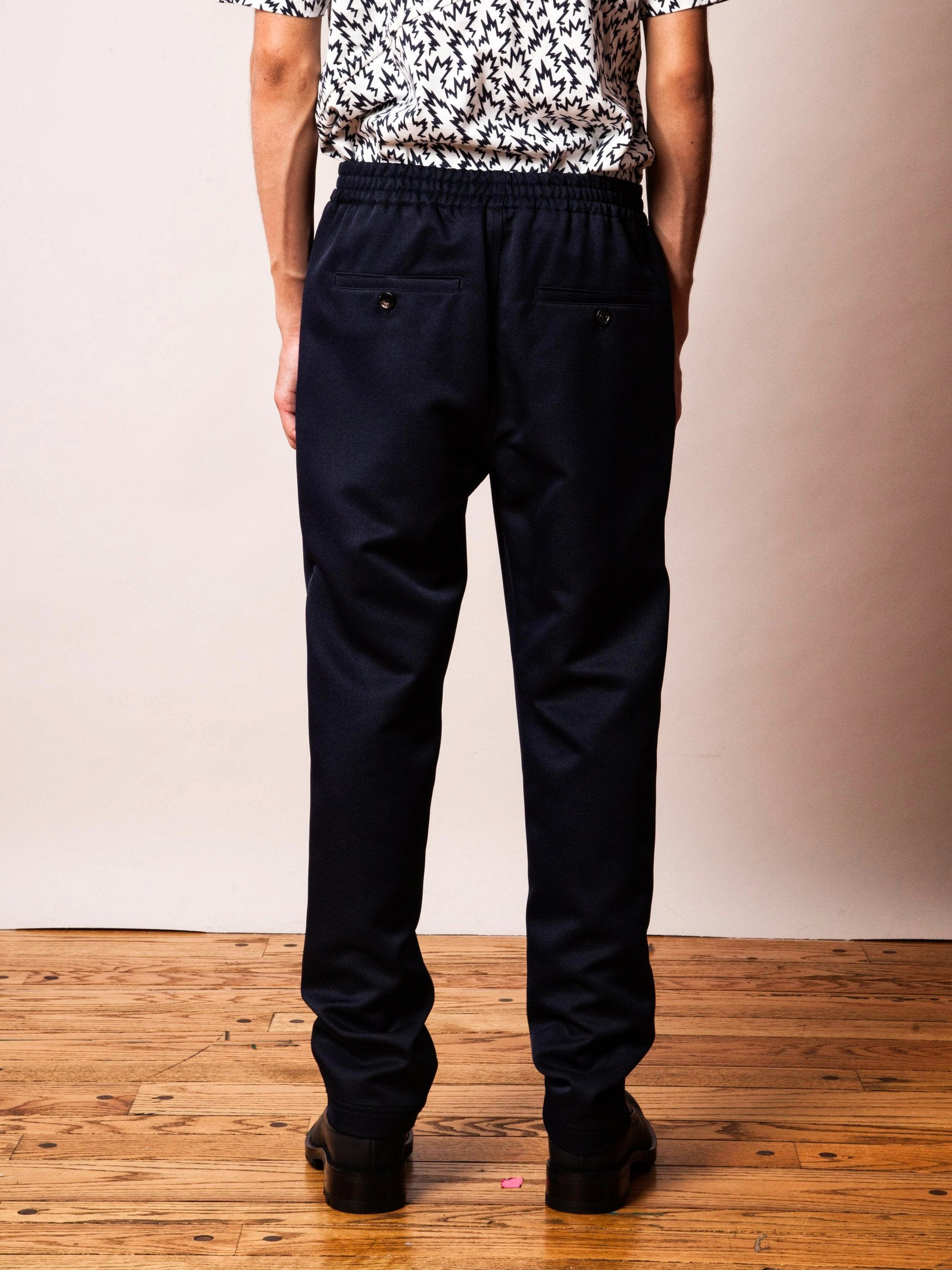 Navy Pleated Poly Trouser 4