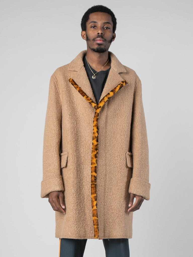 Camel Leopard Edged Overcoat 313880327962701