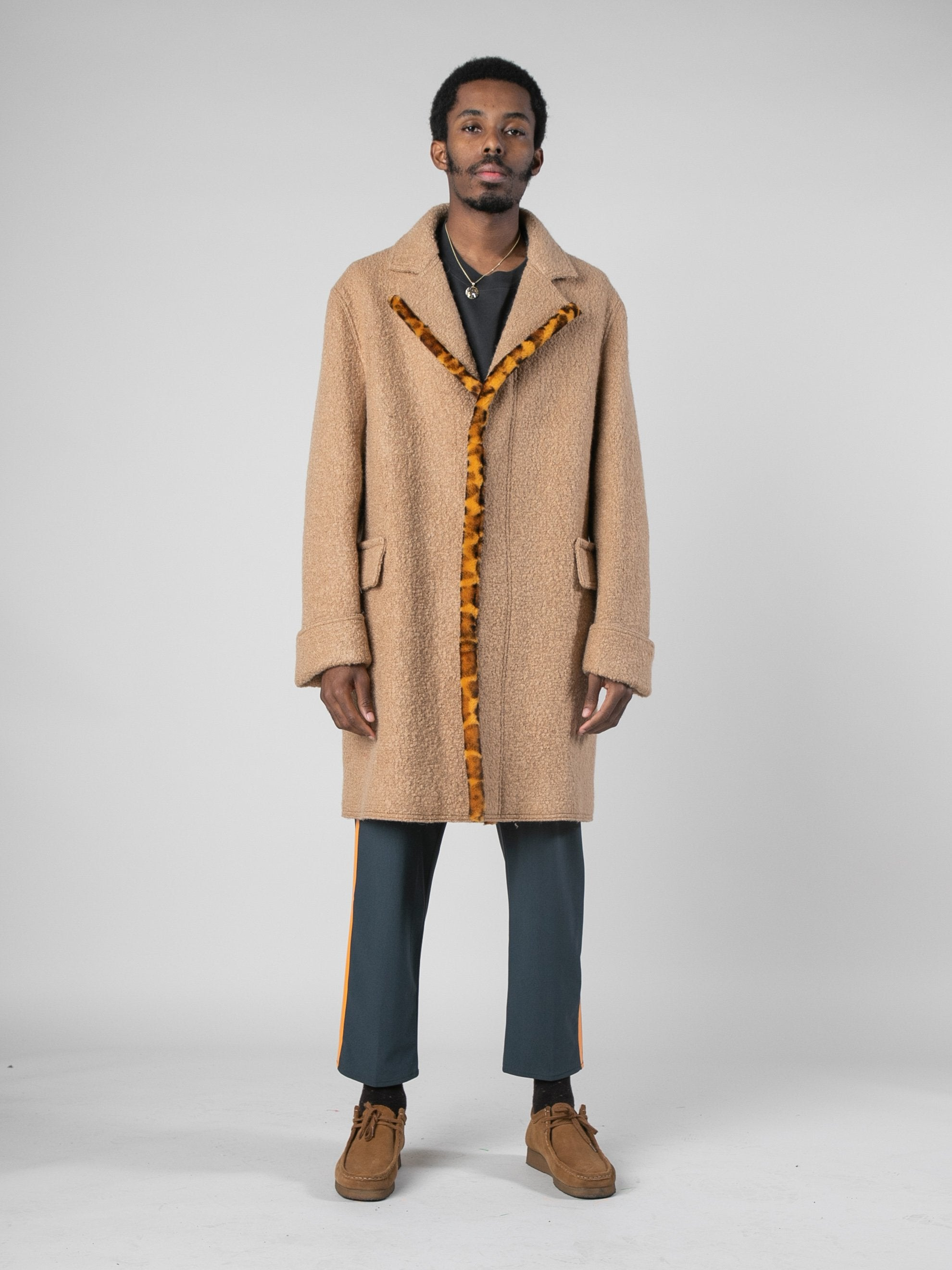 Camel Leopard Edged Overcoat 3