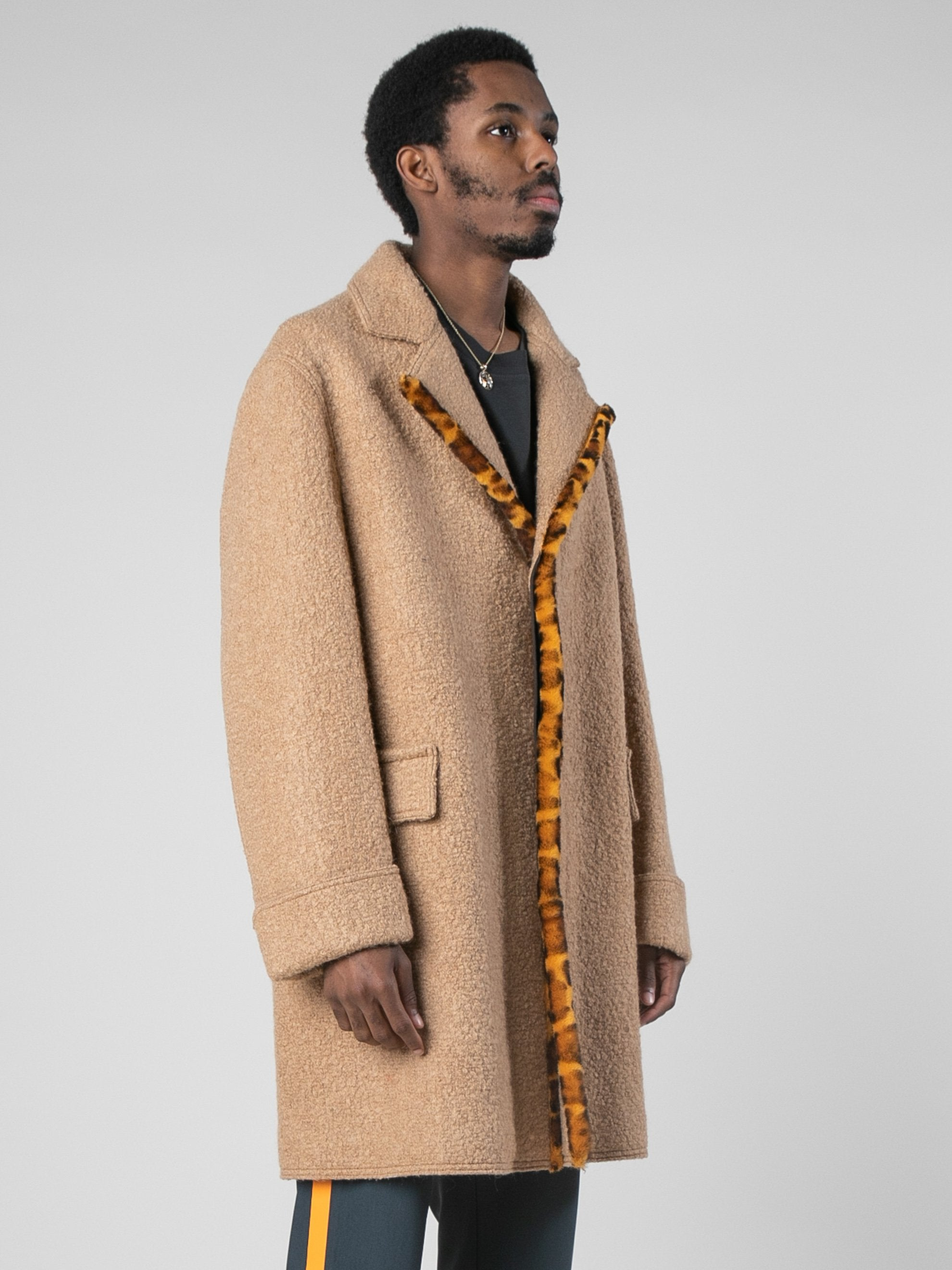 Camel Leopard Edged Overcoat 4