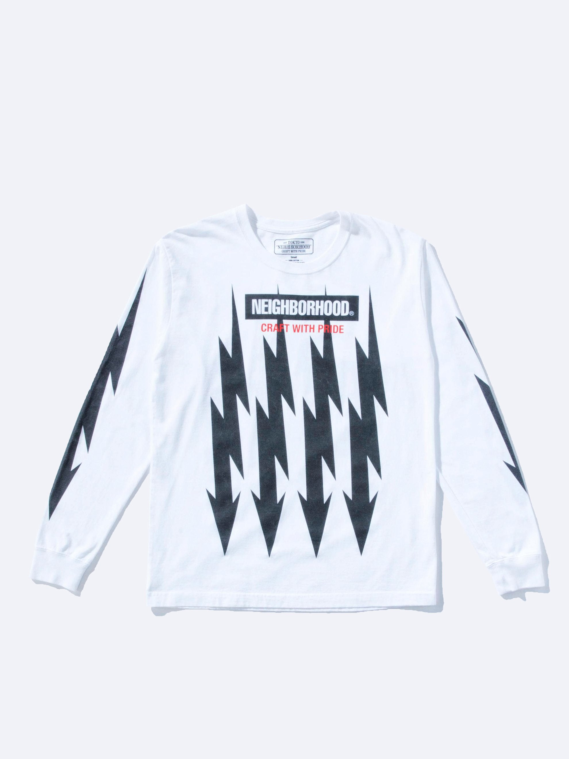 White Bolts Cotton Pullover L/S T-Shirt 1