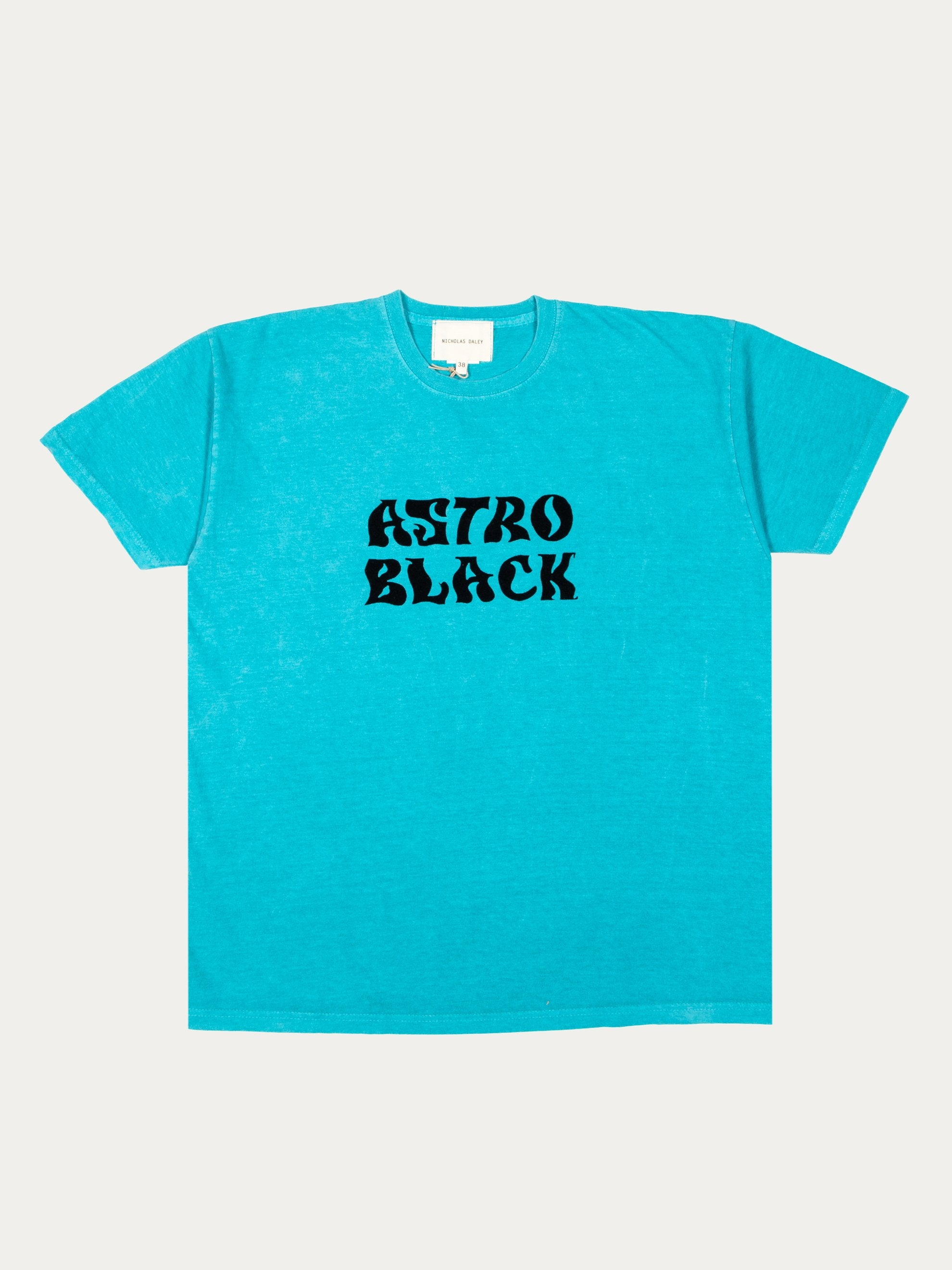Turquoise Astro Black Garment Dyed T-Shirt 1