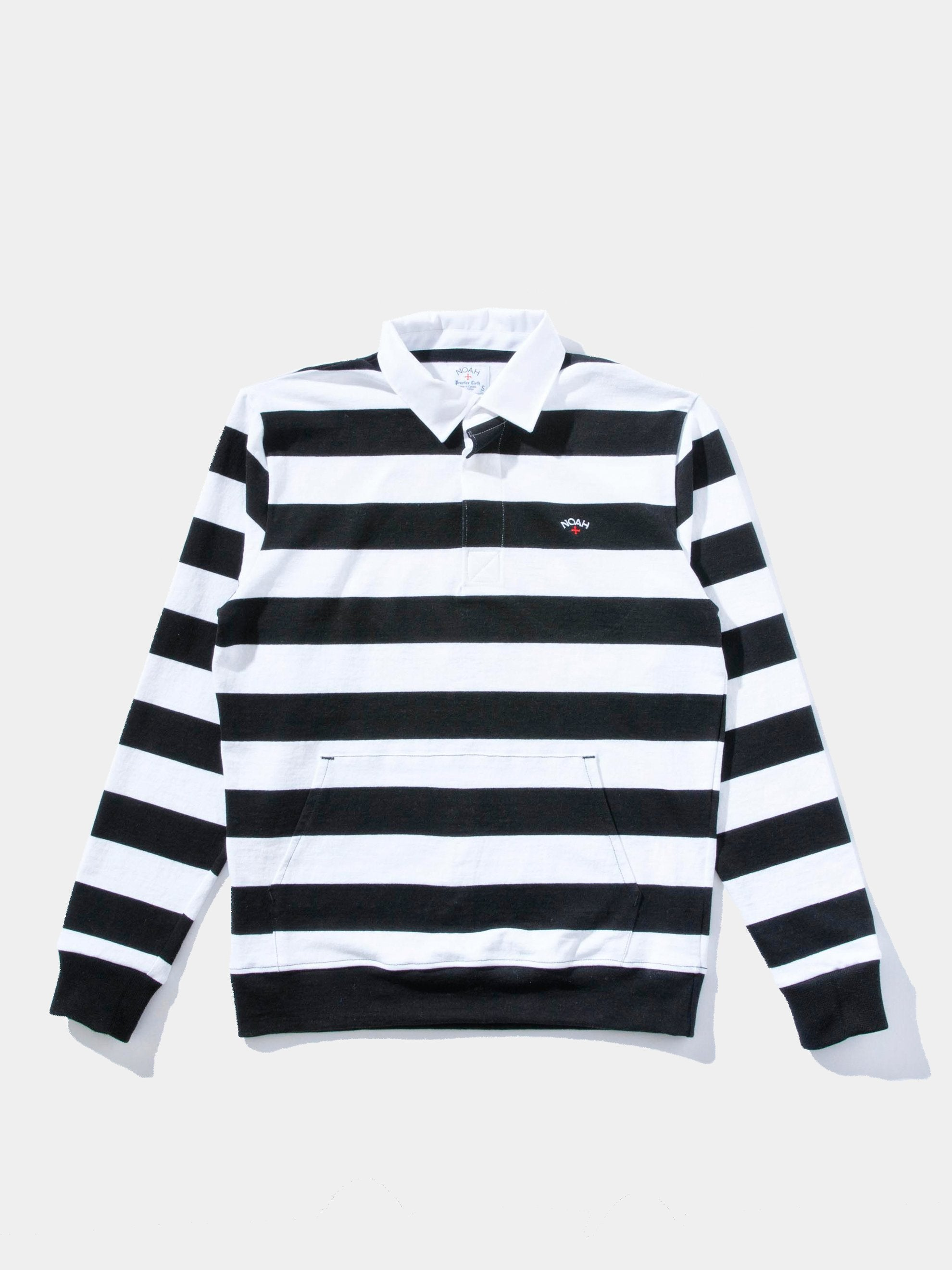 Black/White Striped Rugby Pullover 1