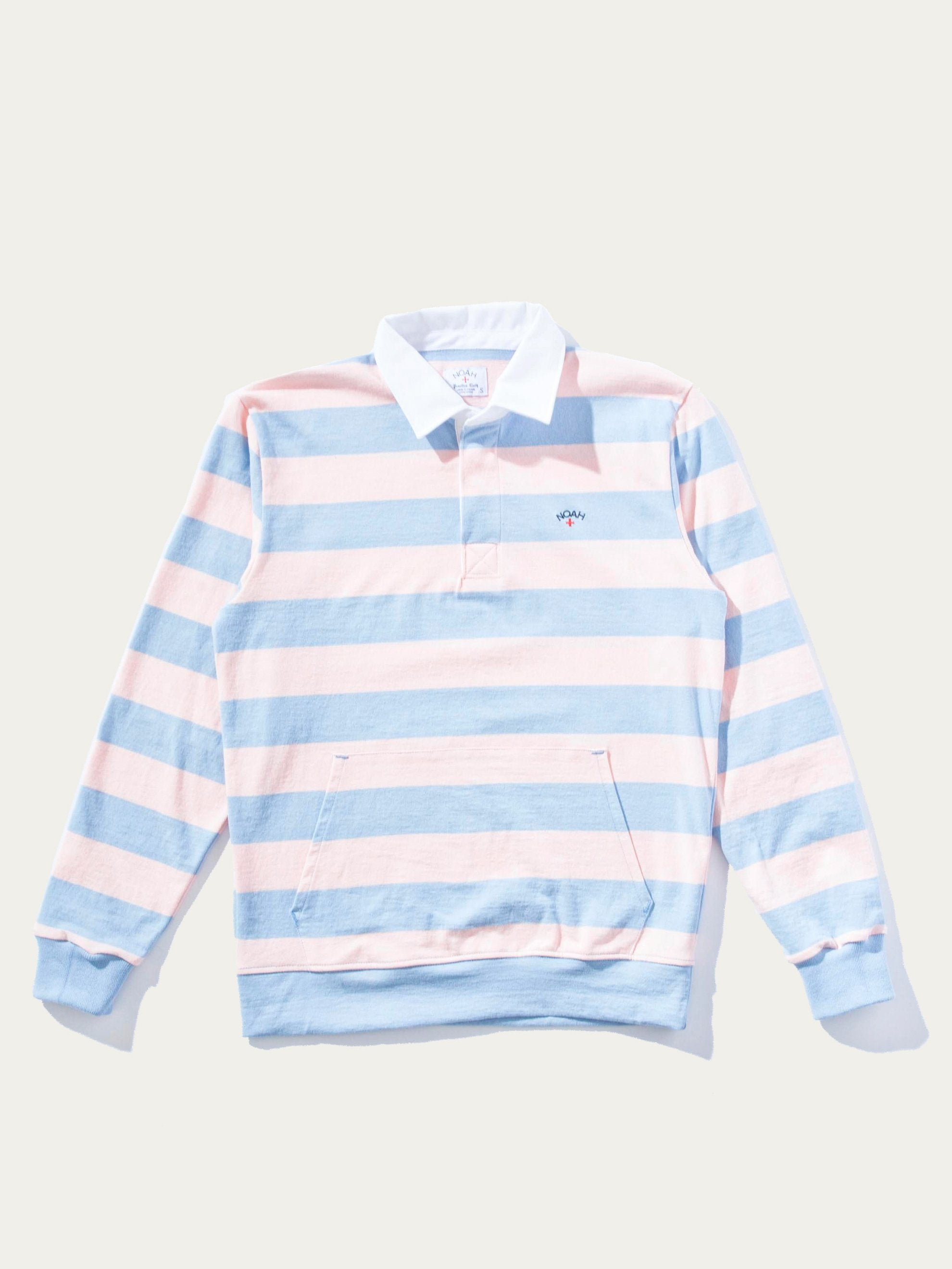 Powder/Salmon Stripe Striped Rugby Pullover 1