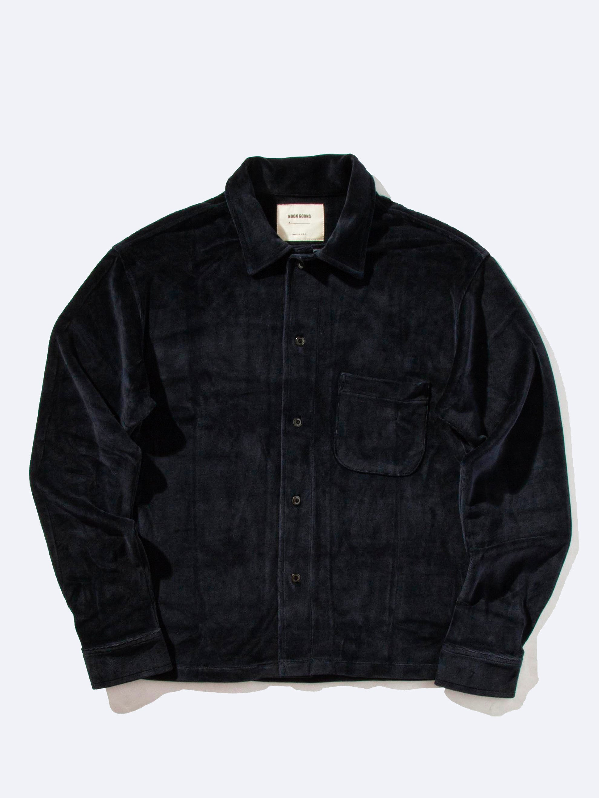 Dark Navy Luciano Velour Long Sleeve Shirt 1