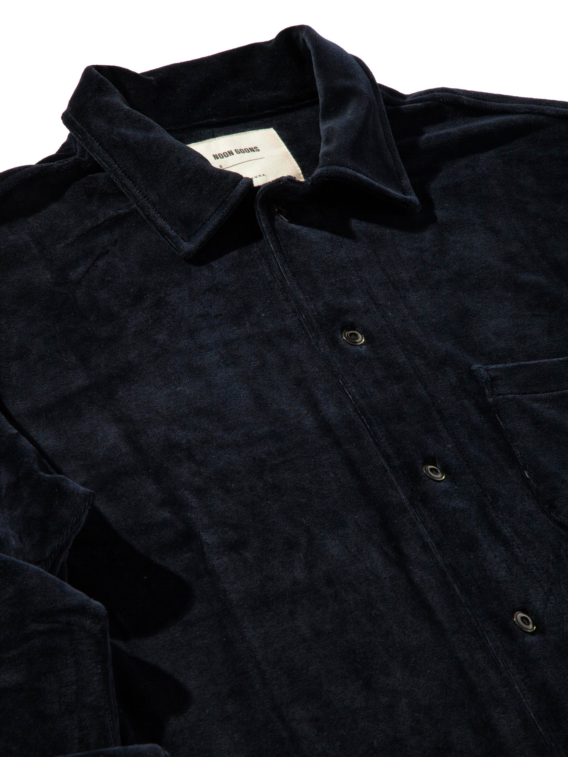 Dark Navy Luciano Velour Long Sleeve Shirt 5