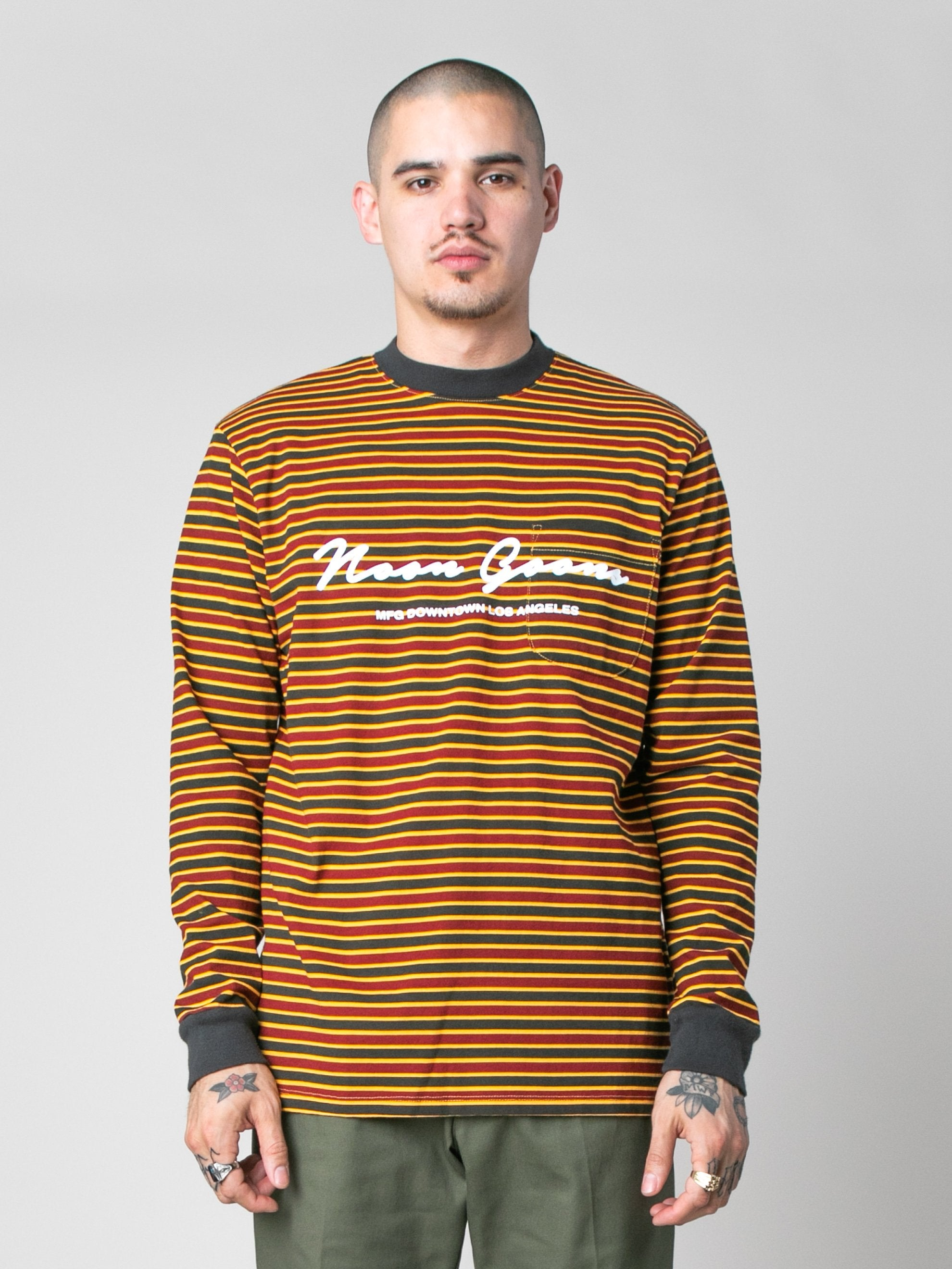 Pale Orange/Burgundy/Black Patricia Stripe LS T-Shirt 2
