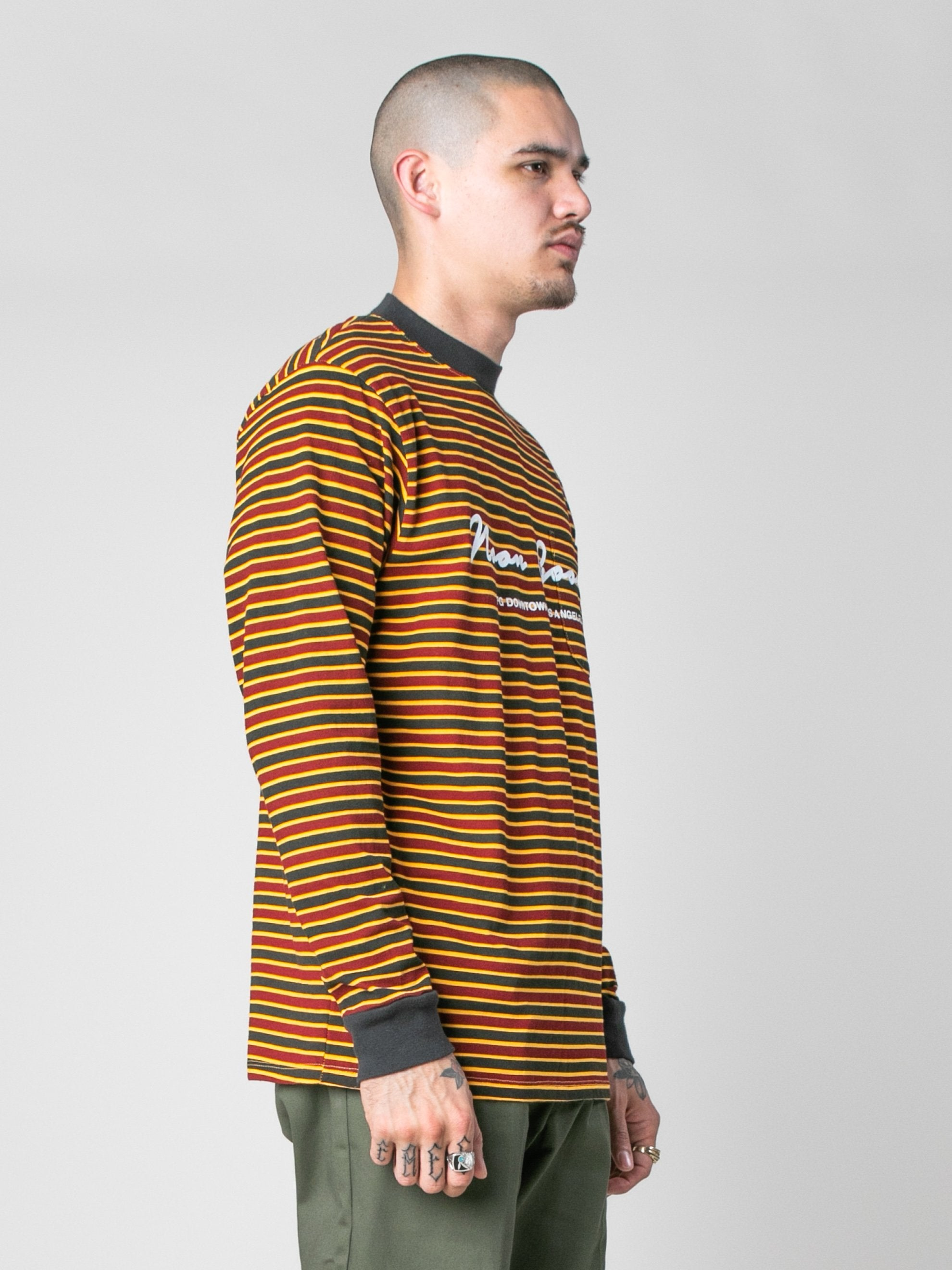 Pale Orange/Burgundy/Black Patricia Stripe LS T-Shirt 4