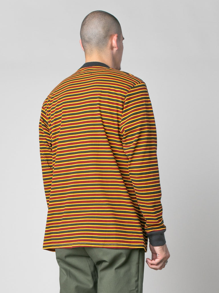 Pale Orange/Burgundy/Black Patricia Stripe LS T-Shirt 514058855465037