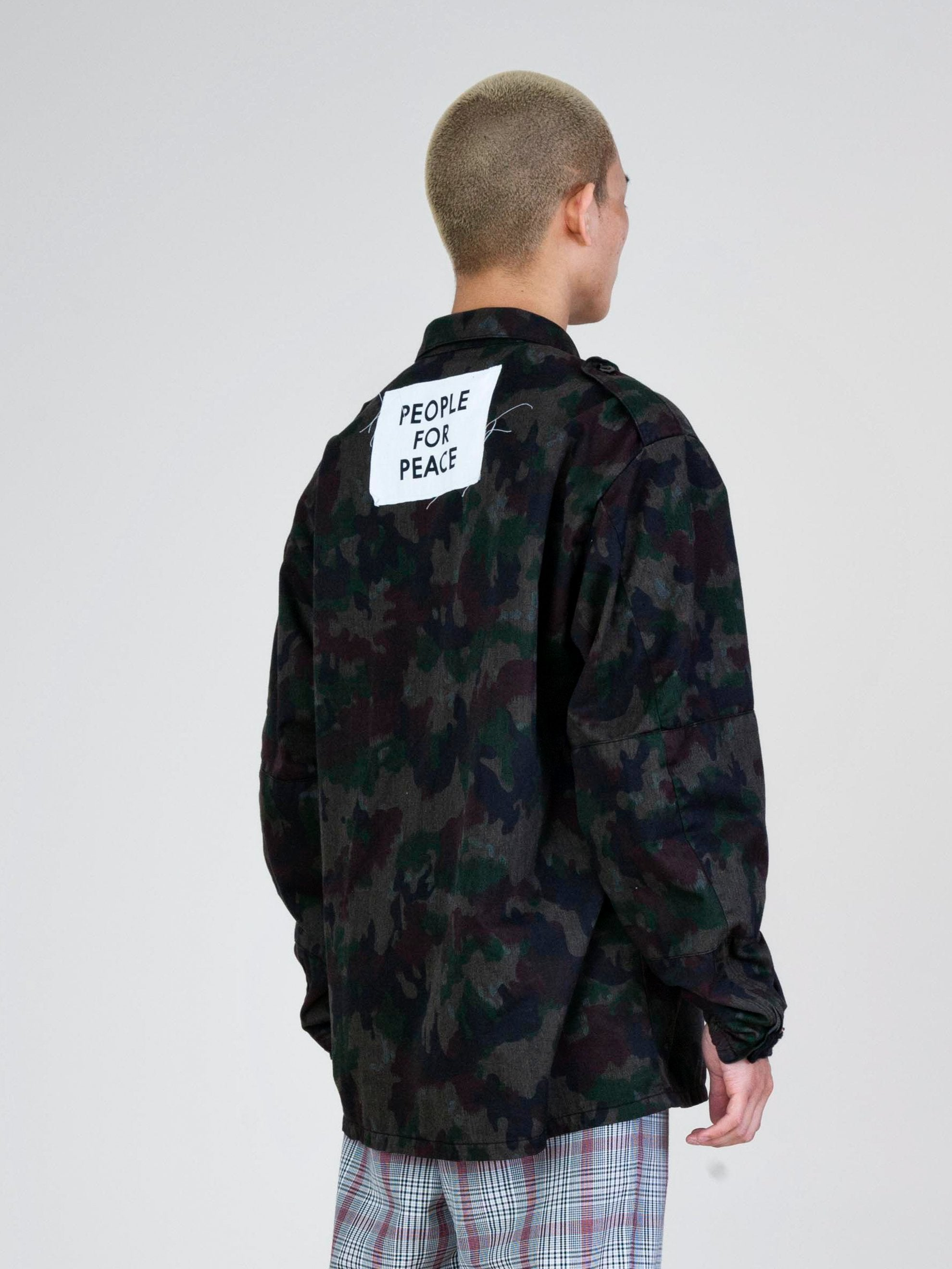 Blue Overdyed Camo People For Peace Jacket 6