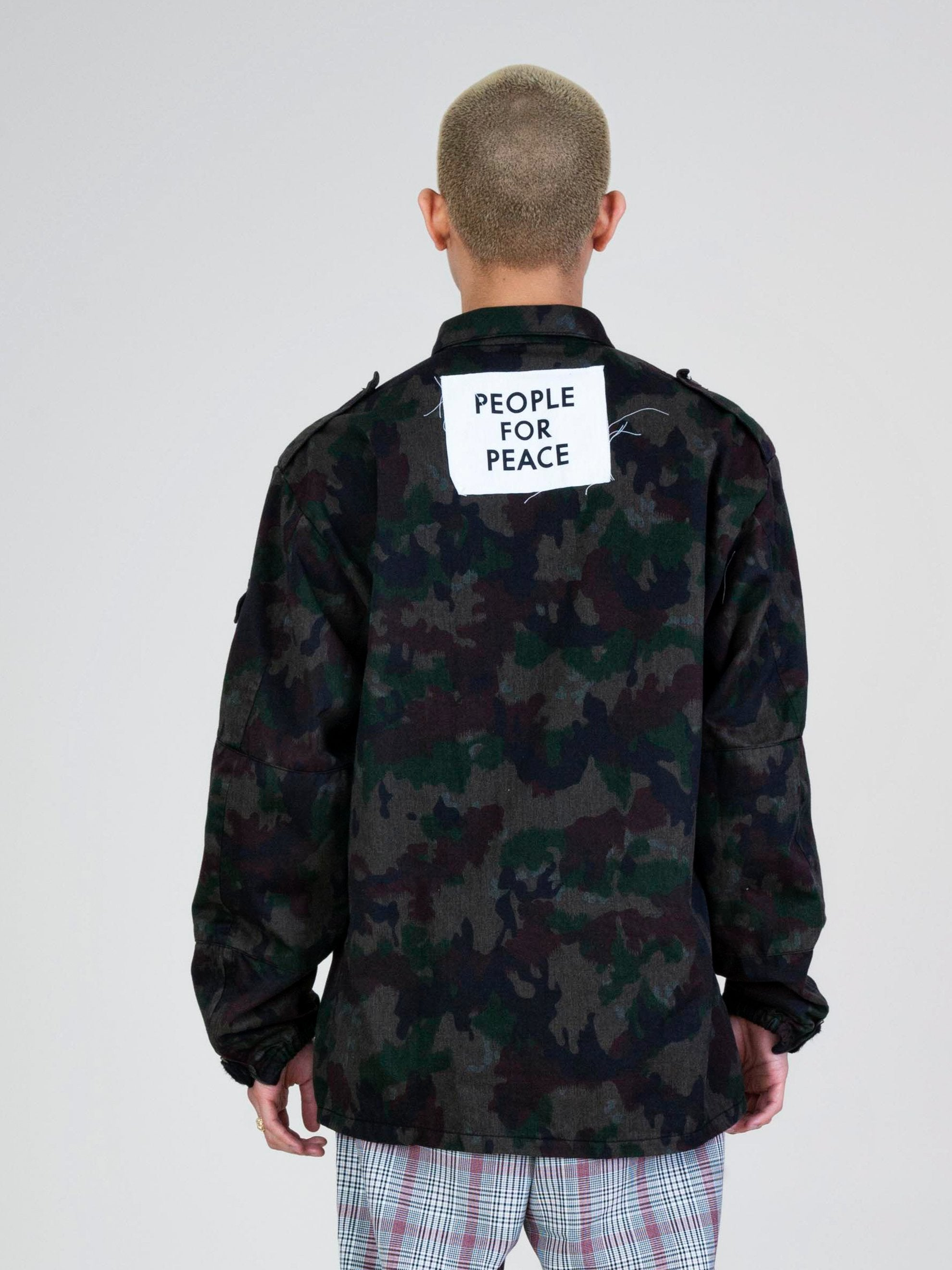 Blue Overdyed Camo People For Peace Jacket 5