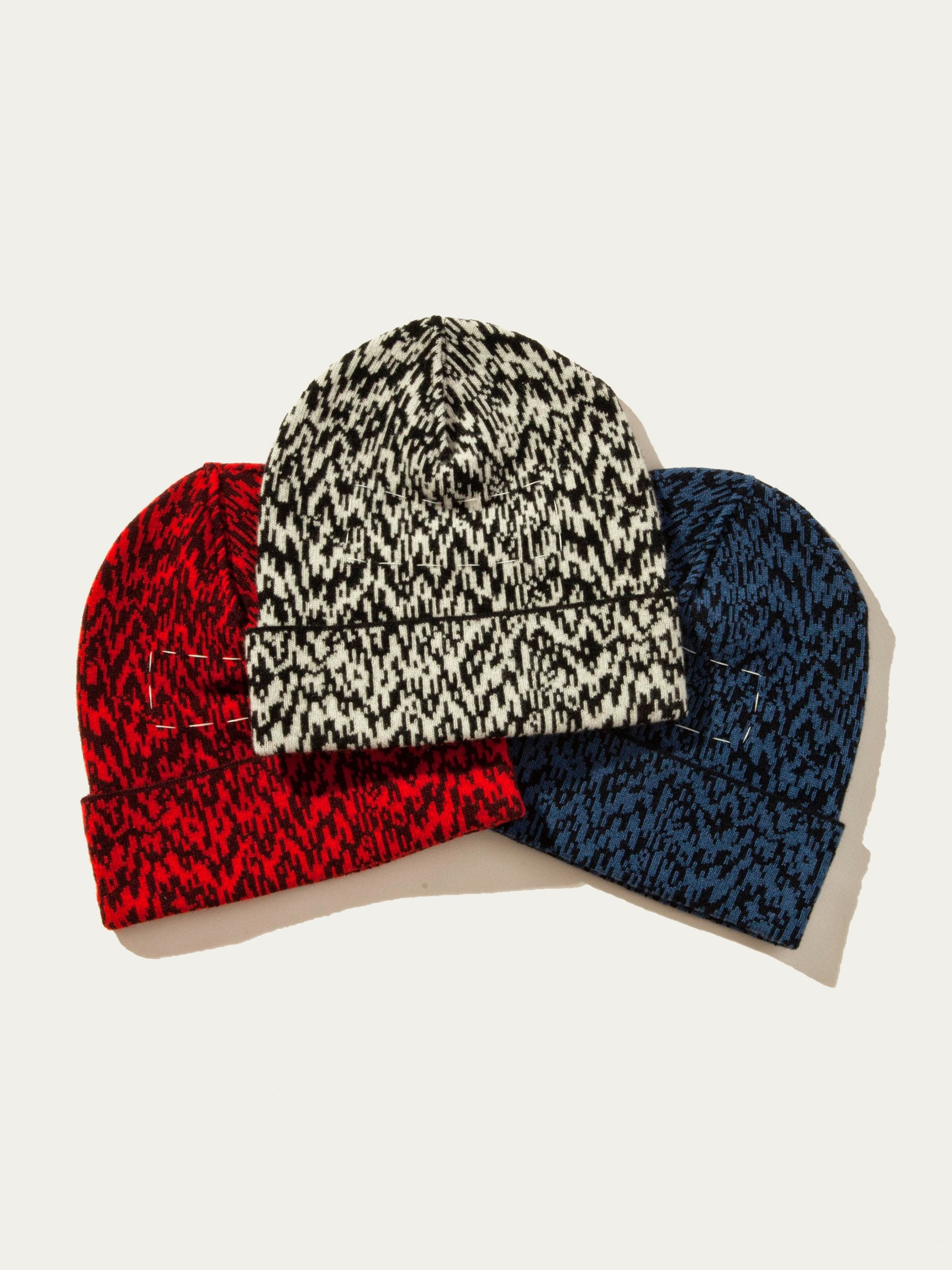 Burgundy/Red Interference Knit Cap 1