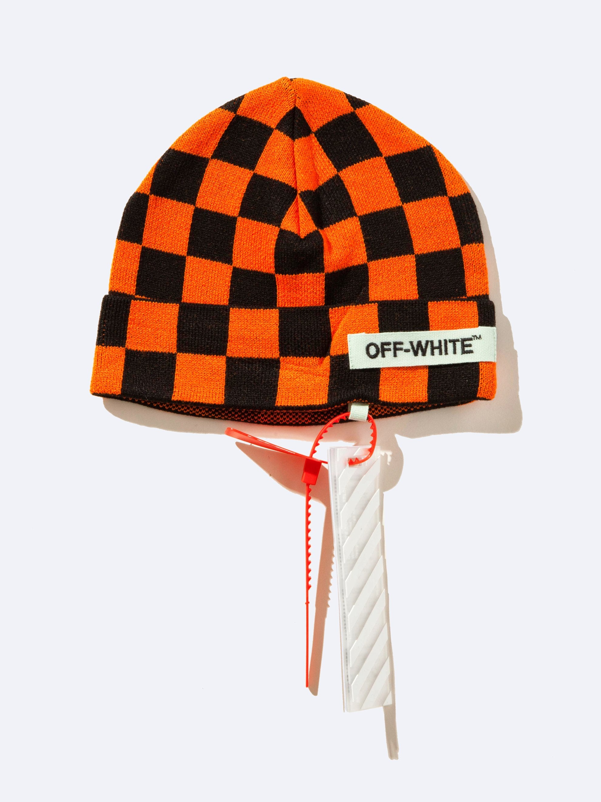 Orange Big Checker Beanie 1