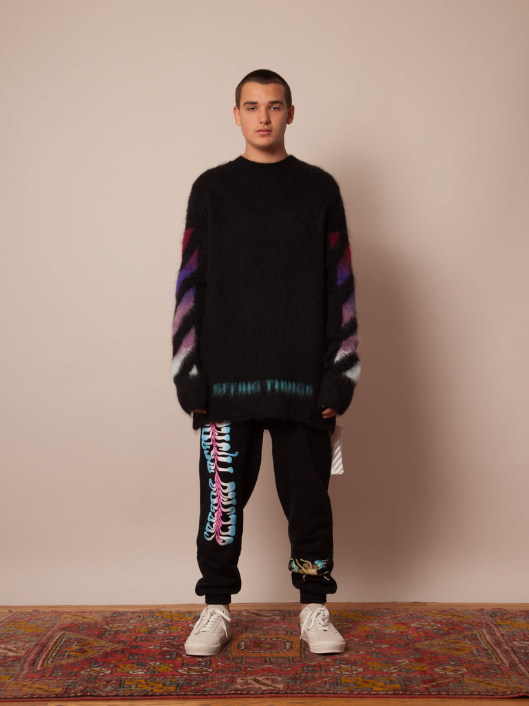 Black Brushed Arrows Sweater 223712789833