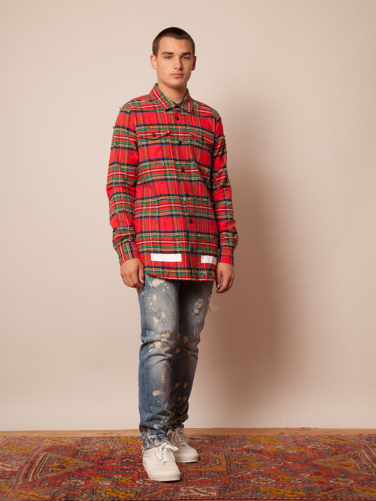 Red Check Rips Shirt 423712710281