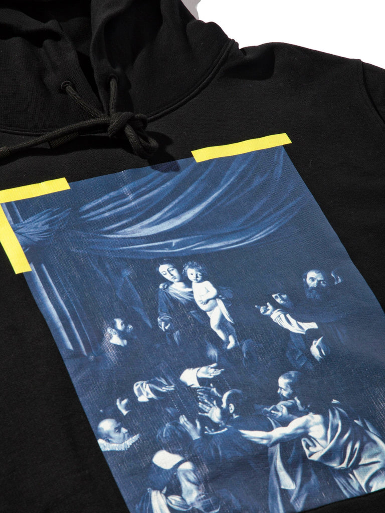 Black Diagonal Caravaggio Hooded Sweatshirt 713572159307853