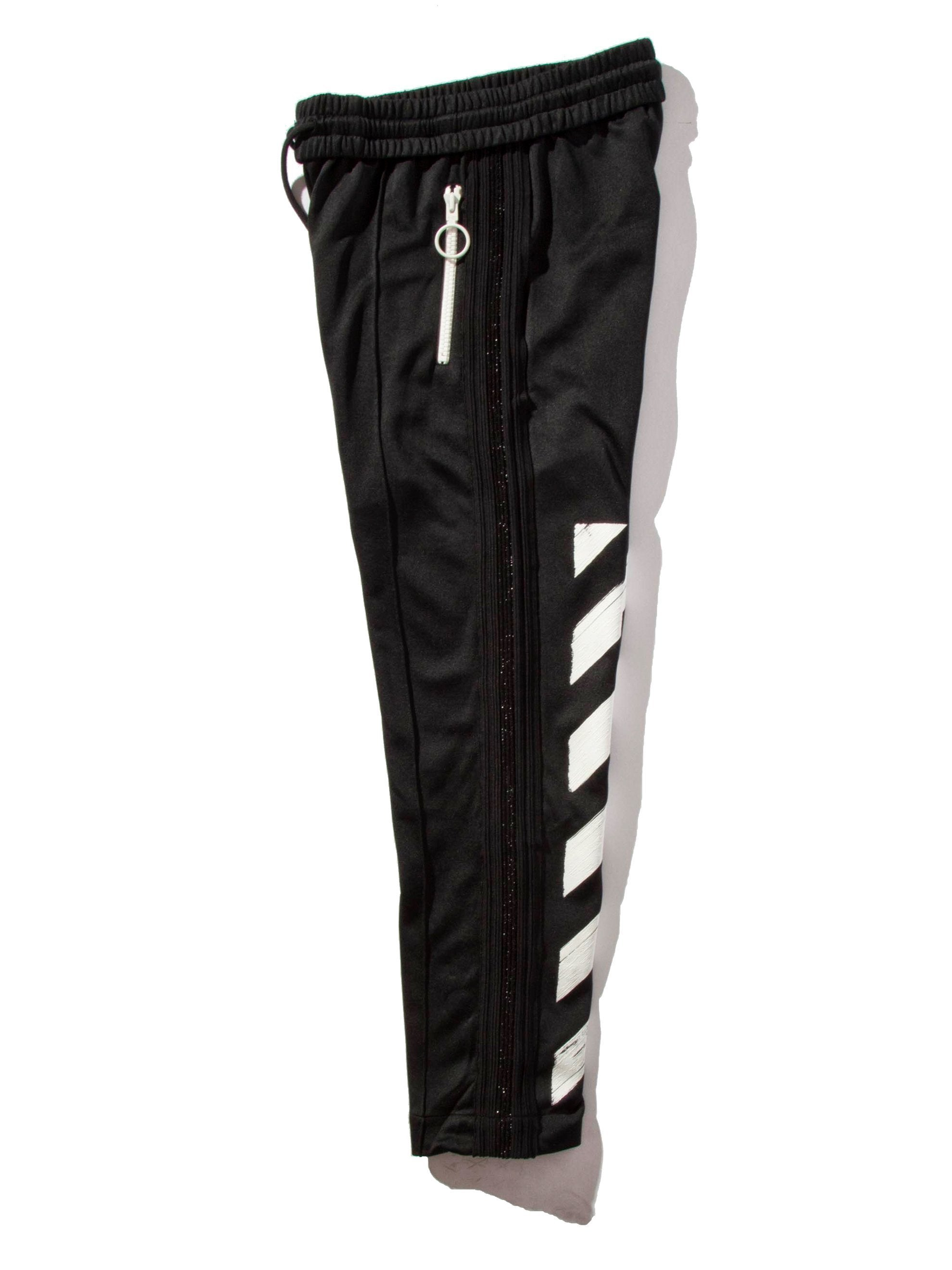 Black Diagonal Brushed Track Pant 5