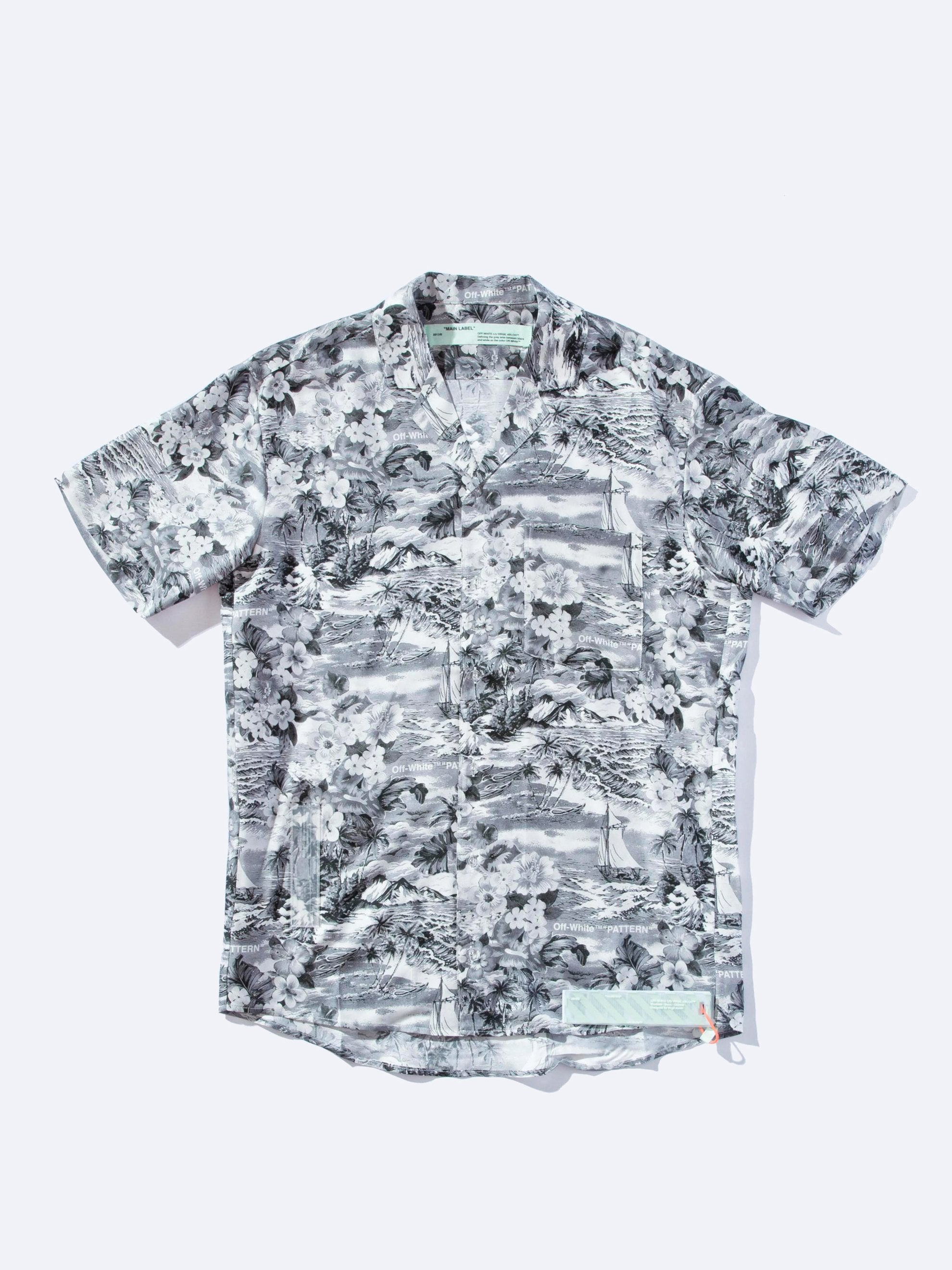 All Over/No Color Black & White Hawaiian Shirt 1