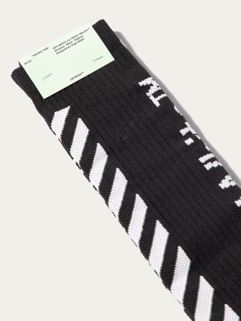 Black Diagonal Mid Length Socks 213570471362637