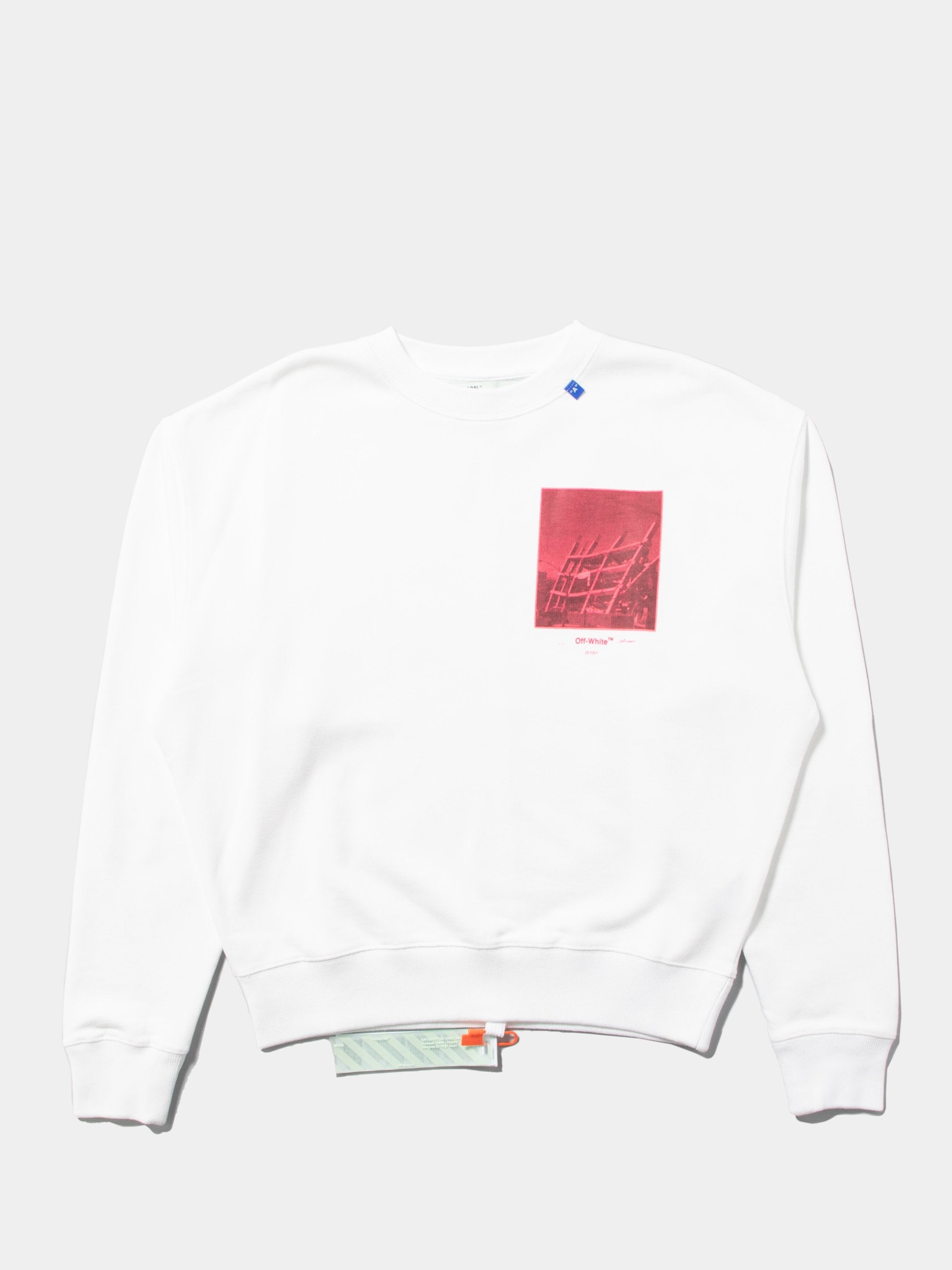 White / Fuchsia Halftone Arrows Over Crewneck 1
