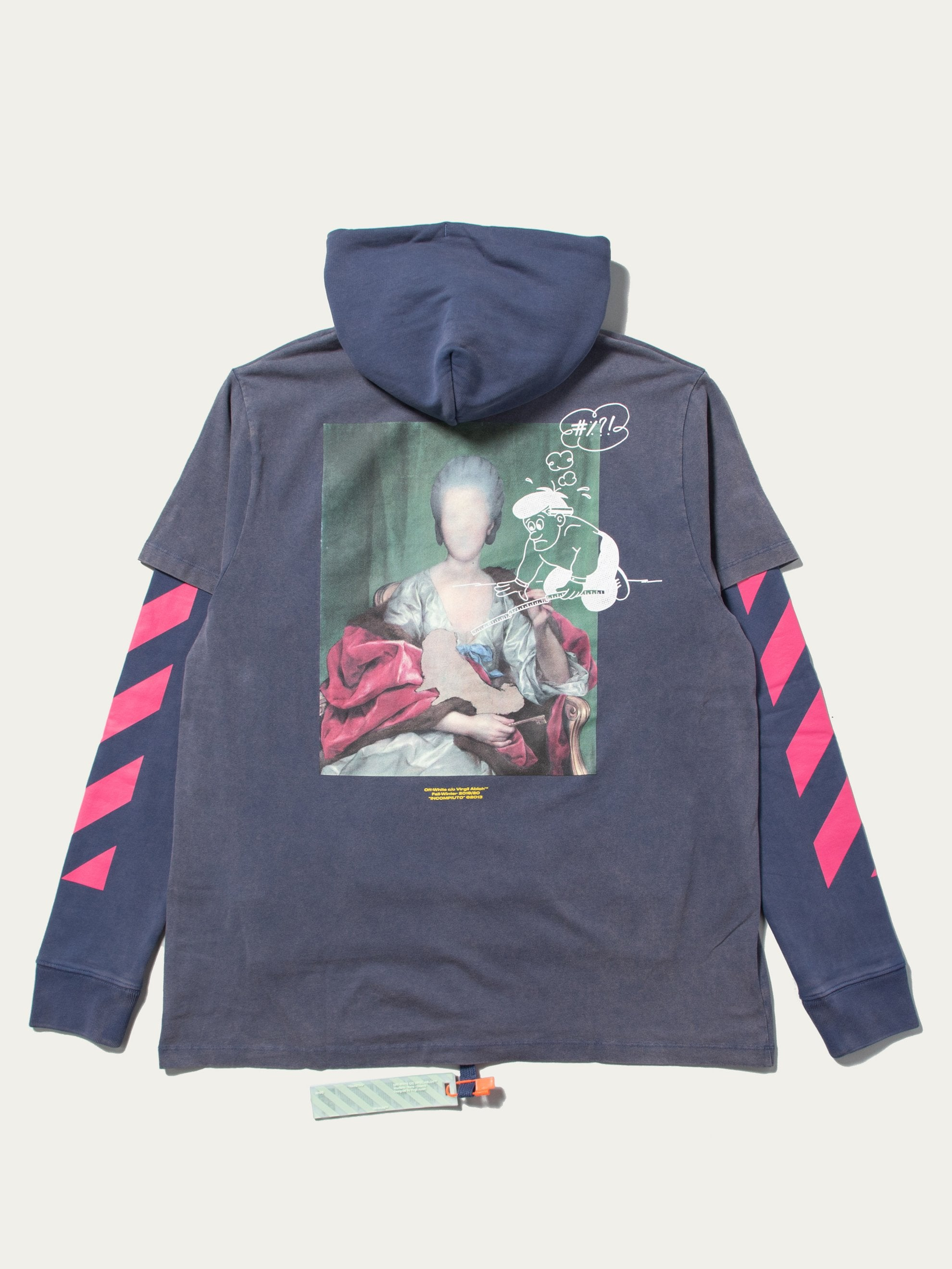 Blue / Multicolor Diagonal Mariana Double Hooded T-Shirt 1