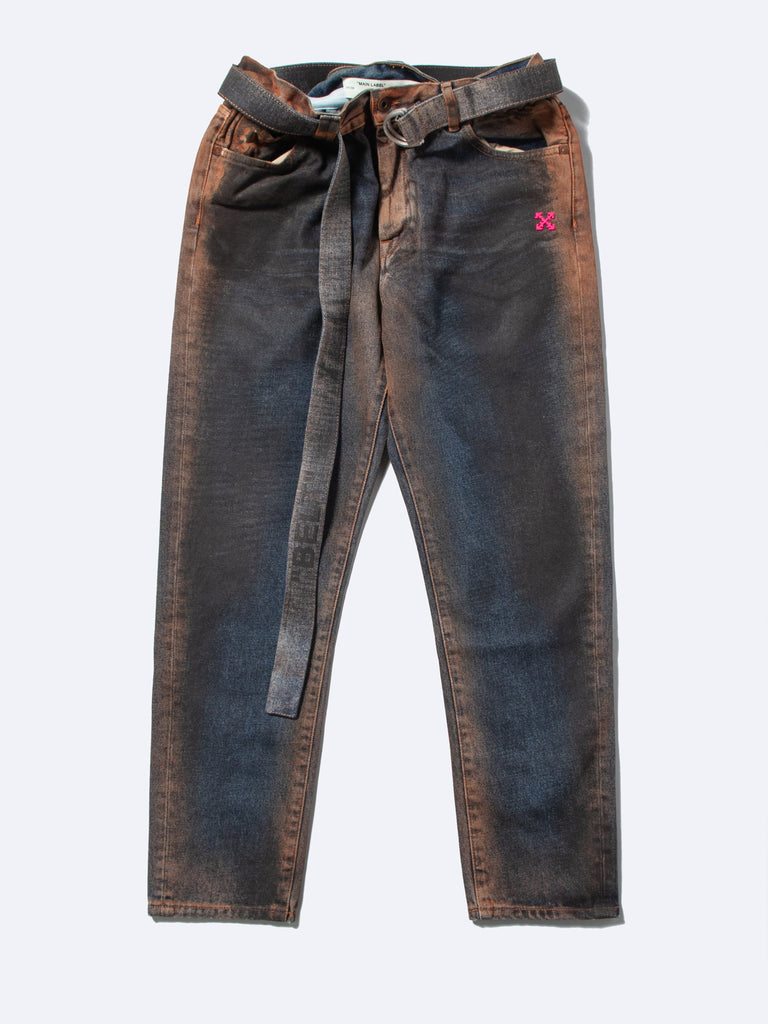 Slim Low Crotch Oil Wash Denim